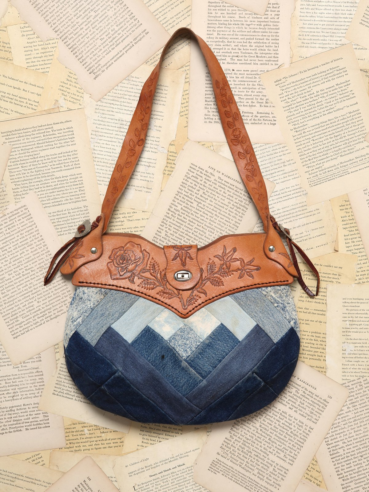 Vintage Leather Denim Purse