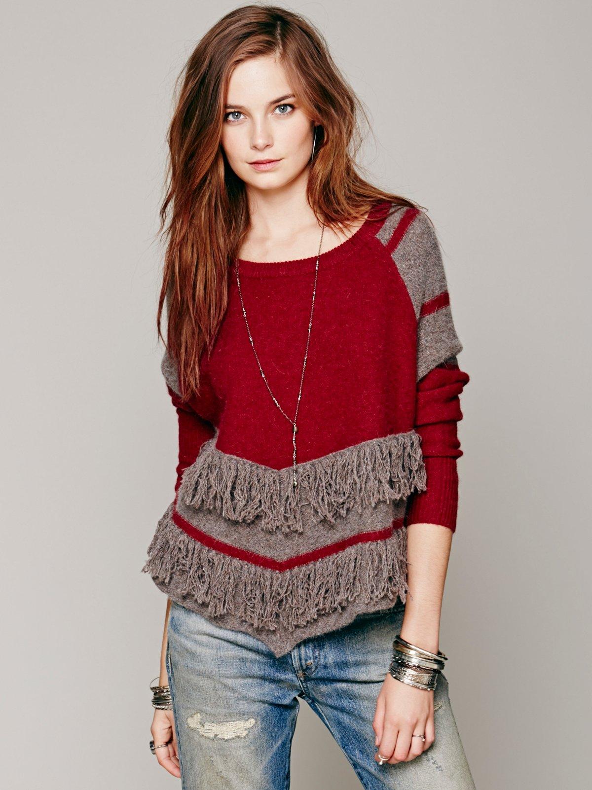 Colorblock Fringe Pullover