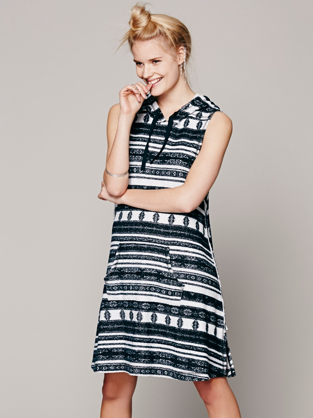 Aztec Print Hooded Tank Dress