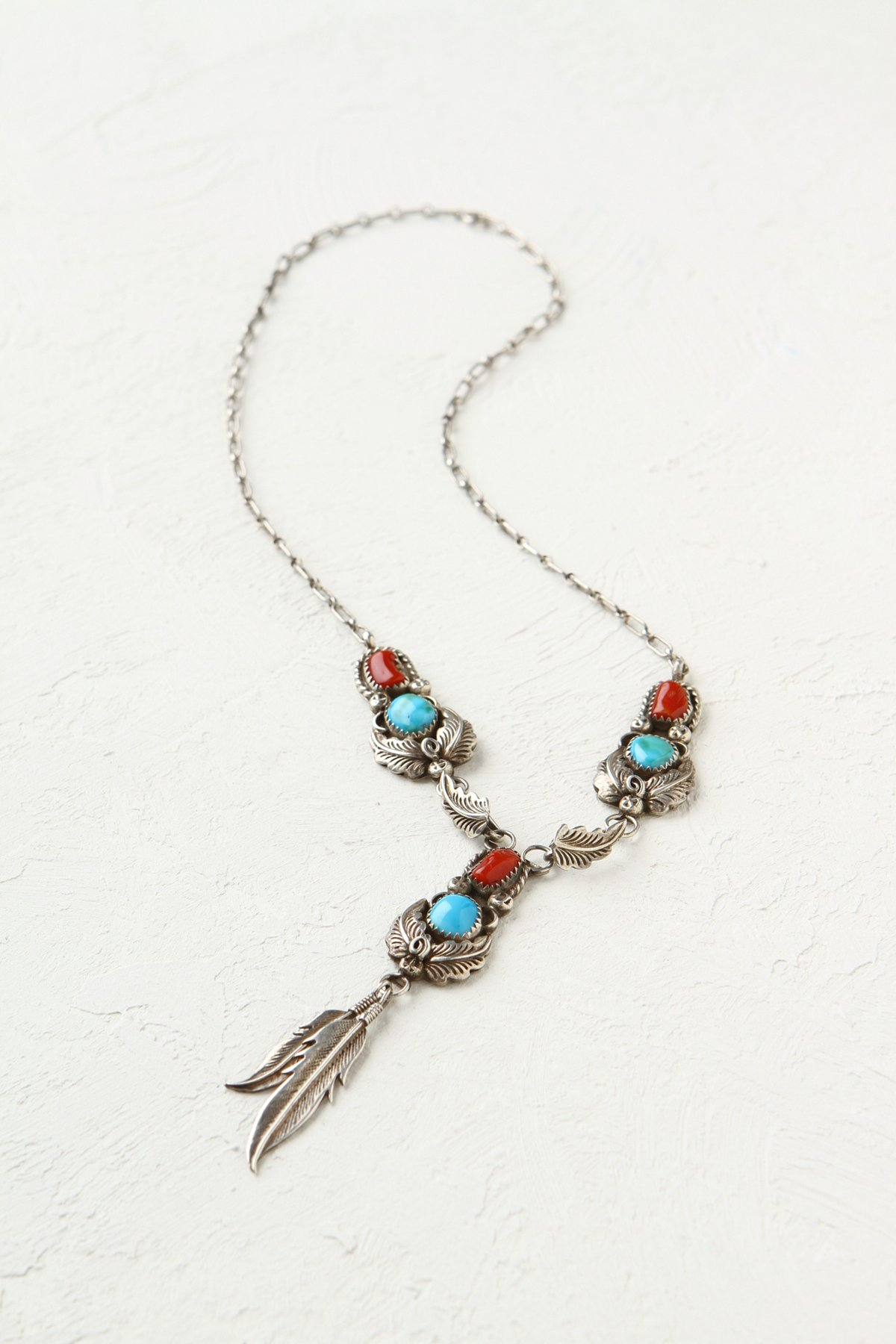 Vintage Turquoise and Coral Leaf Necklace