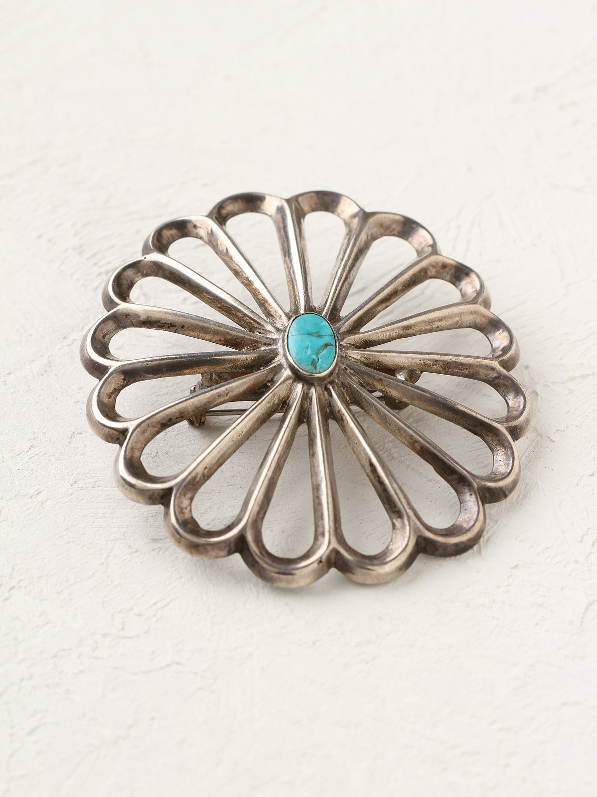 Vintage Silver Turquoise Pin