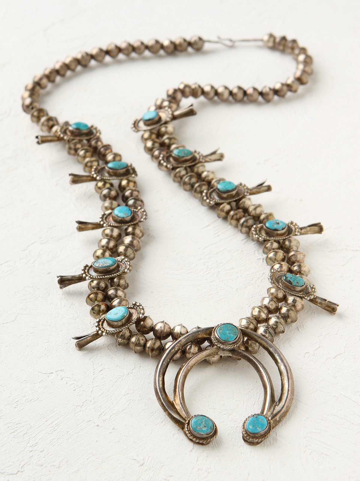 Vintage Squash Blossom Turquoise Necklace