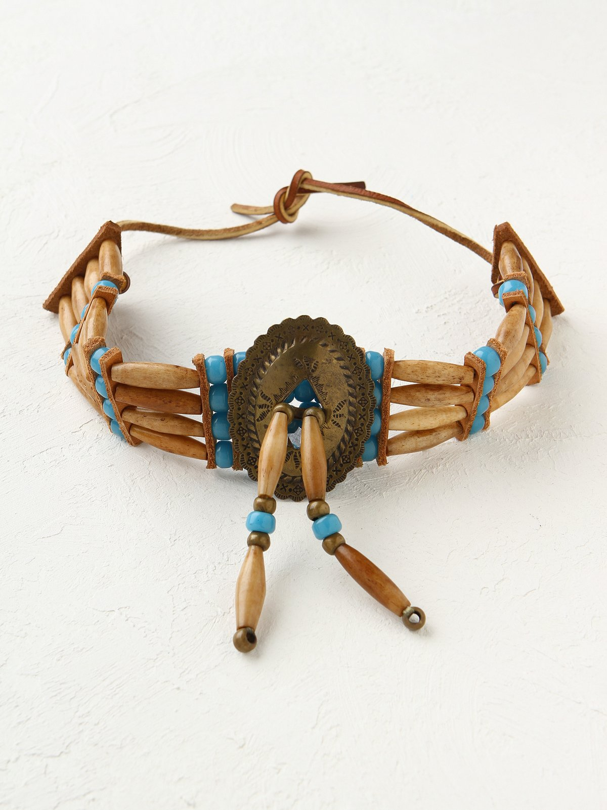Vintage Beaded Leather Necklace