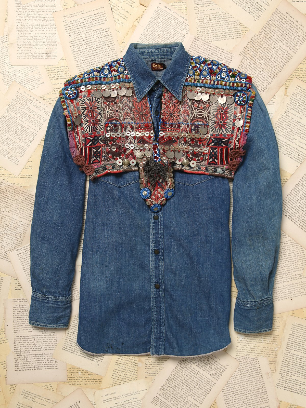 Vintage Denim Shirt with Embellished Bolero