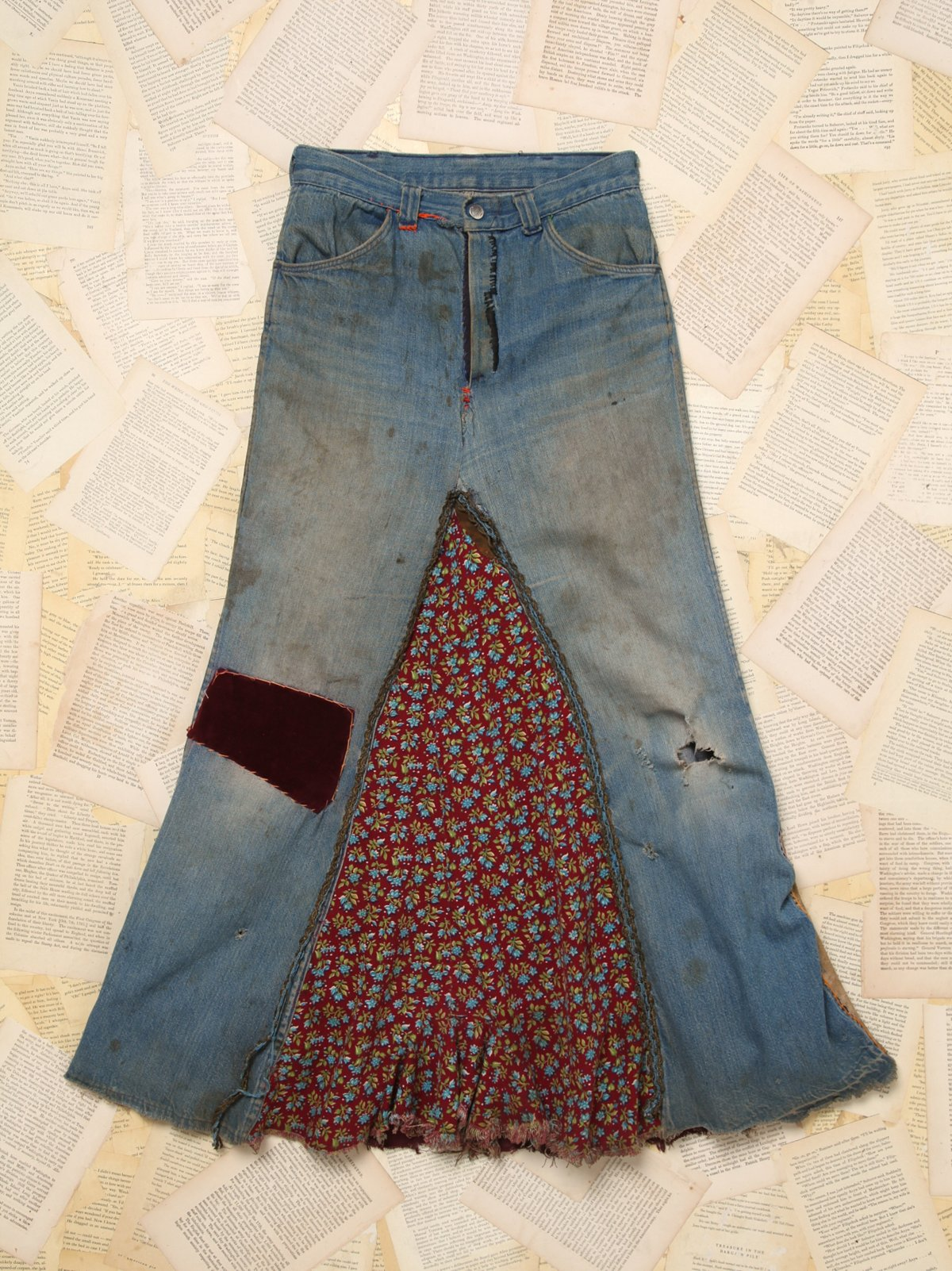 Patchwork Denim Maxi Skirt