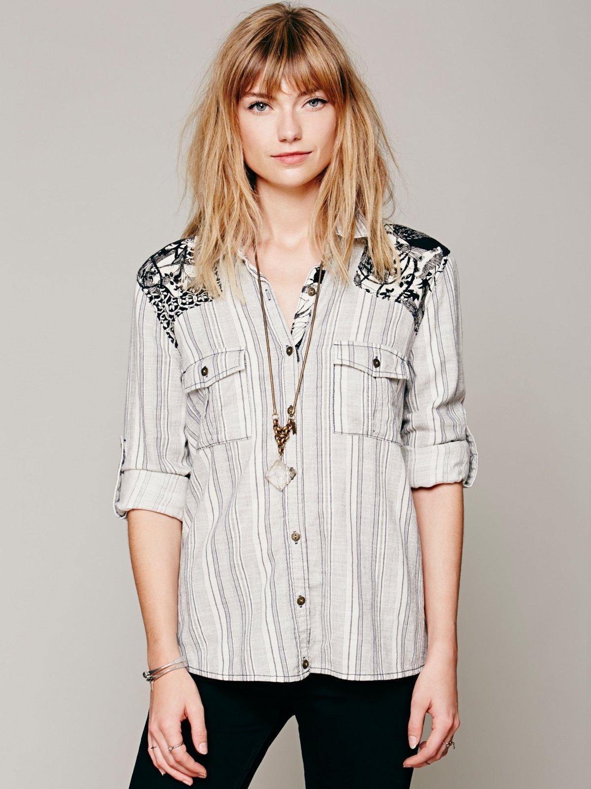Stripe Printed Shoulder Shirt