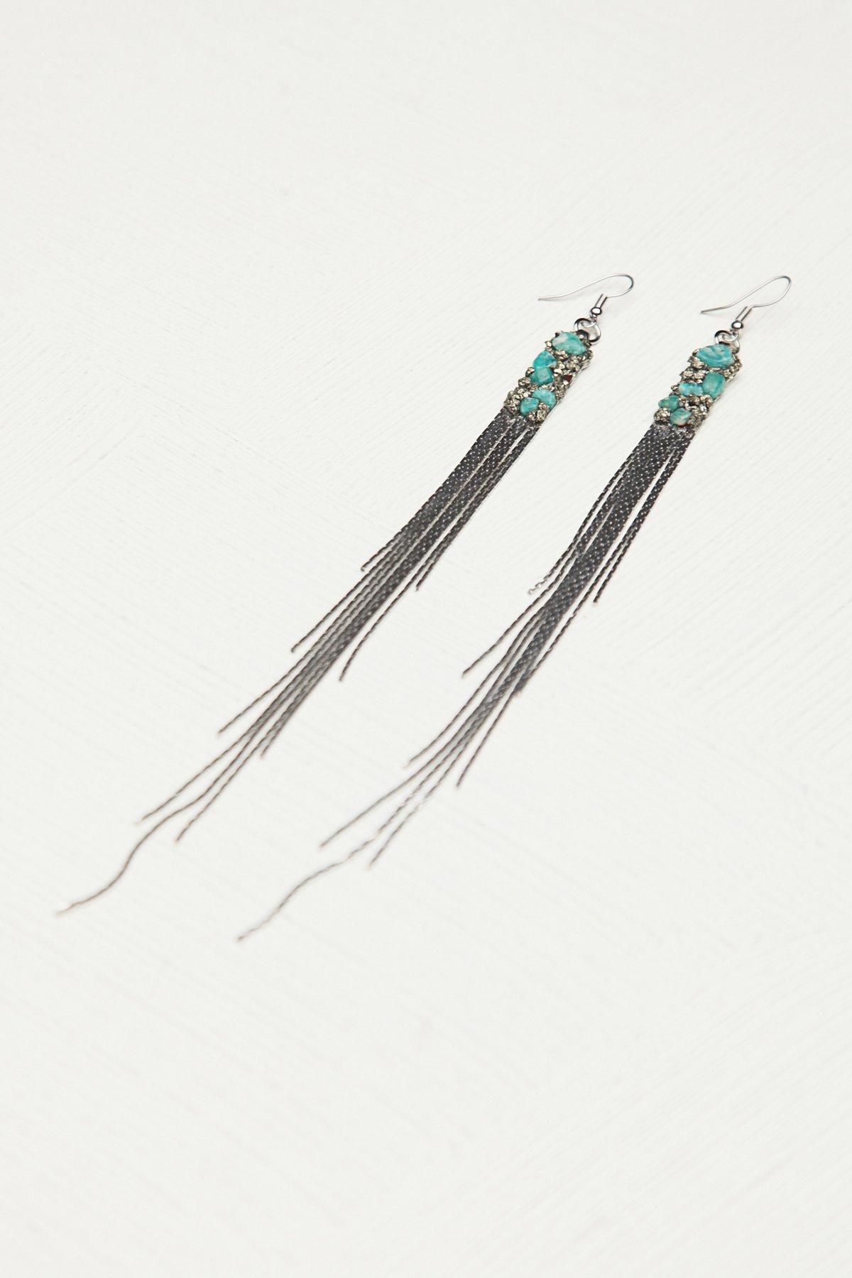 Cluster Chain Long Fringe Earring