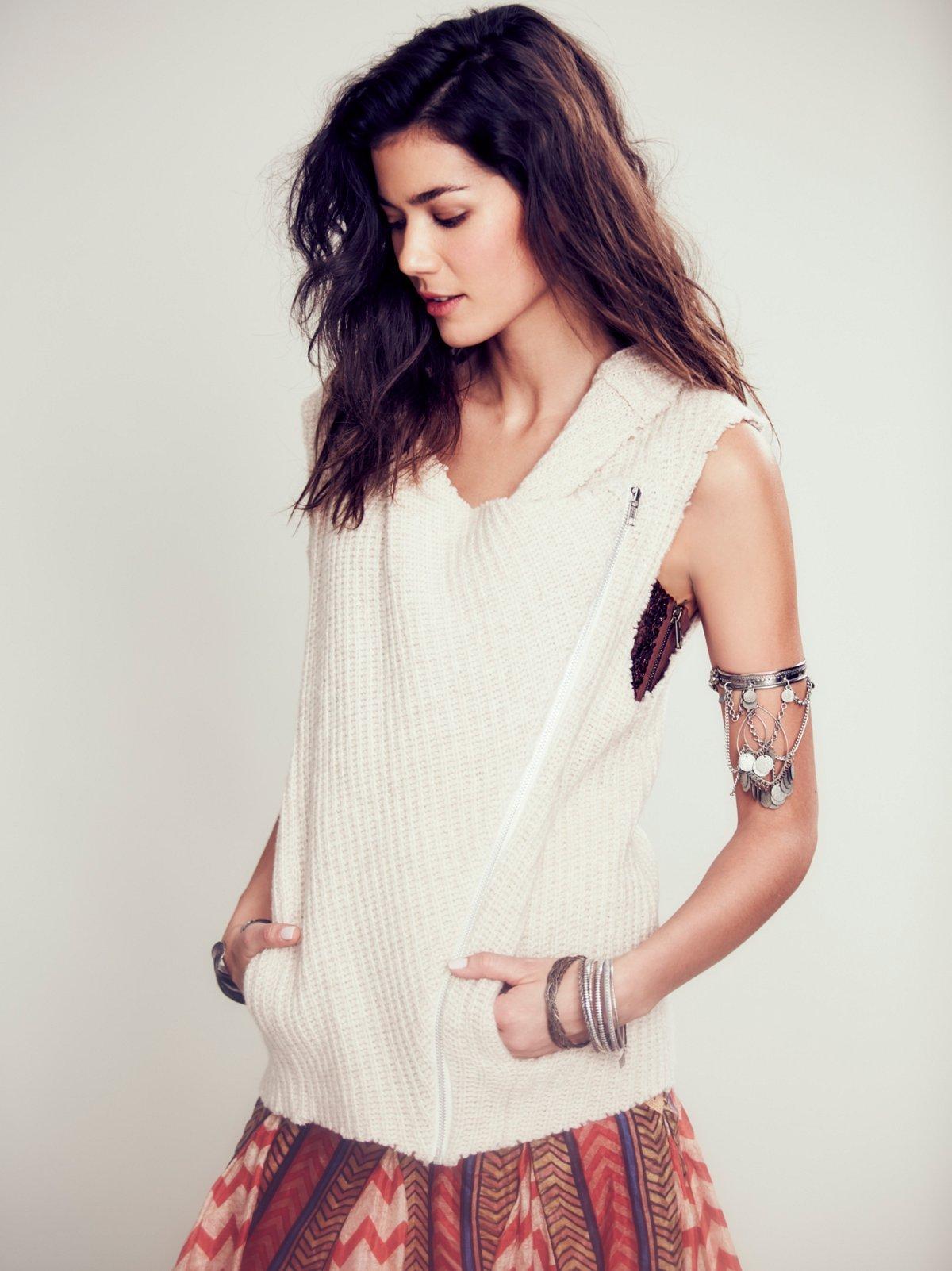 Sleeveless Moto Sweater Vest