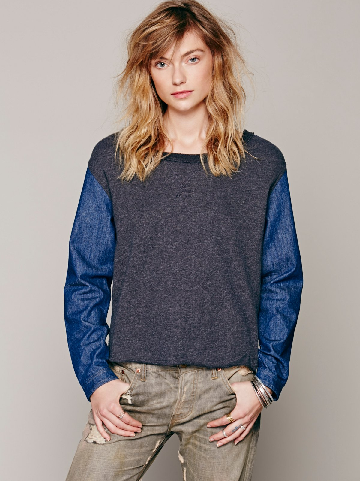 Embroidered Back Chambray Pullover