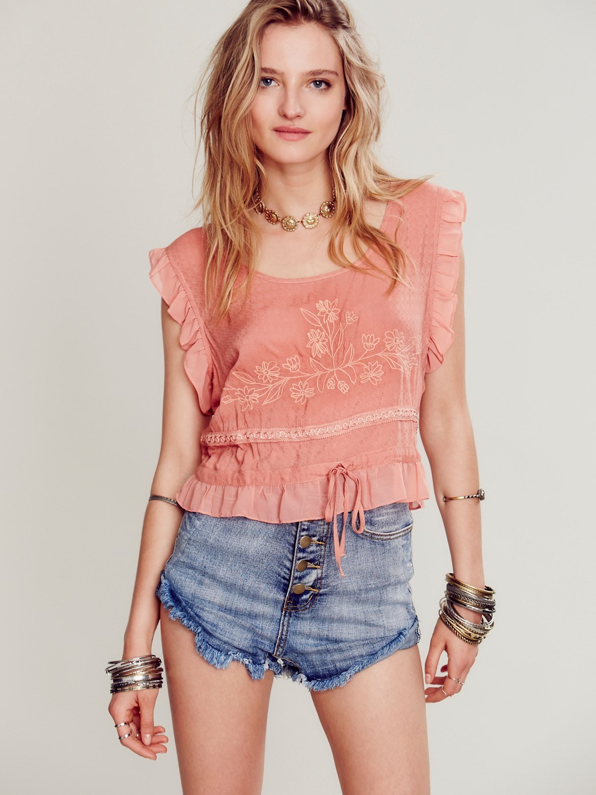 Sleeveless Embroidered Crop Top