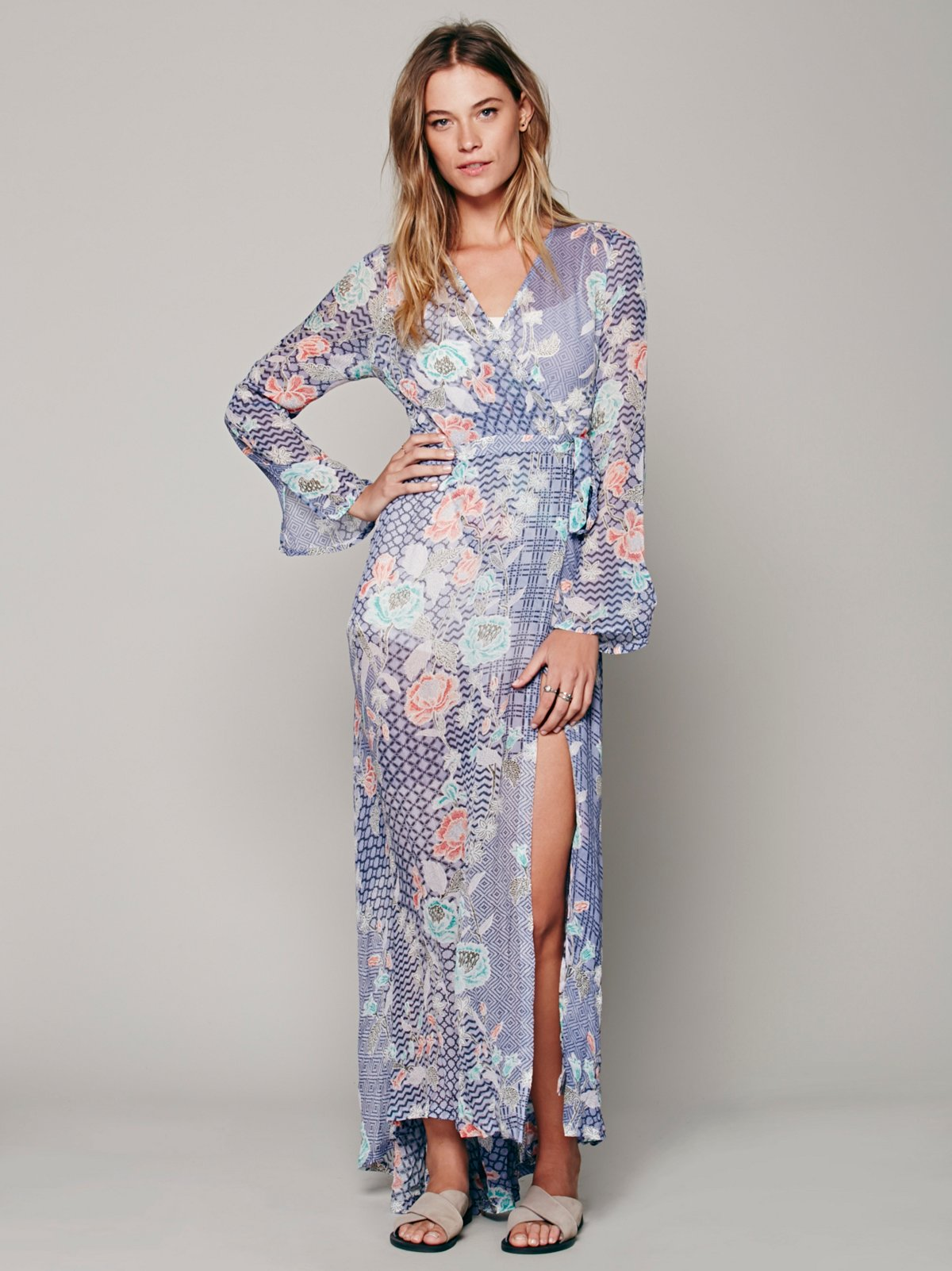 Batik Floral Wrap Maxi at Free People Clothing Boutique