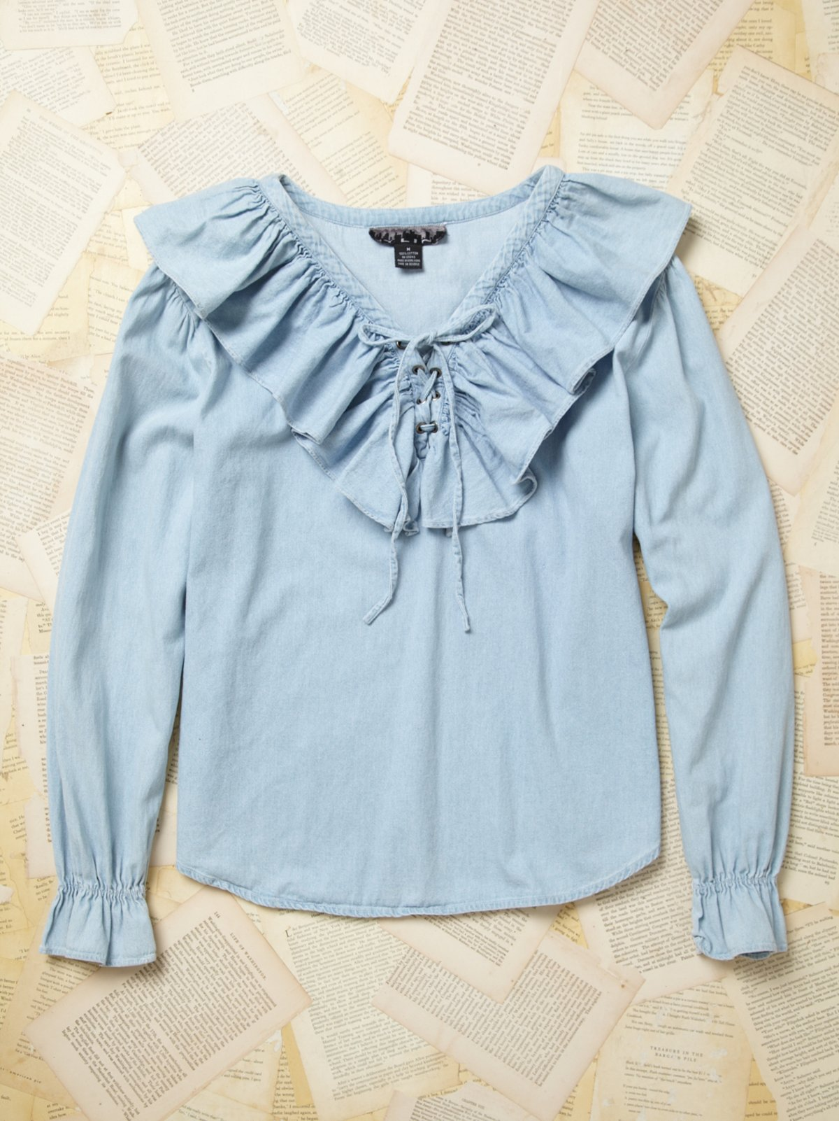 Vintage Denim Ruffle Shirt