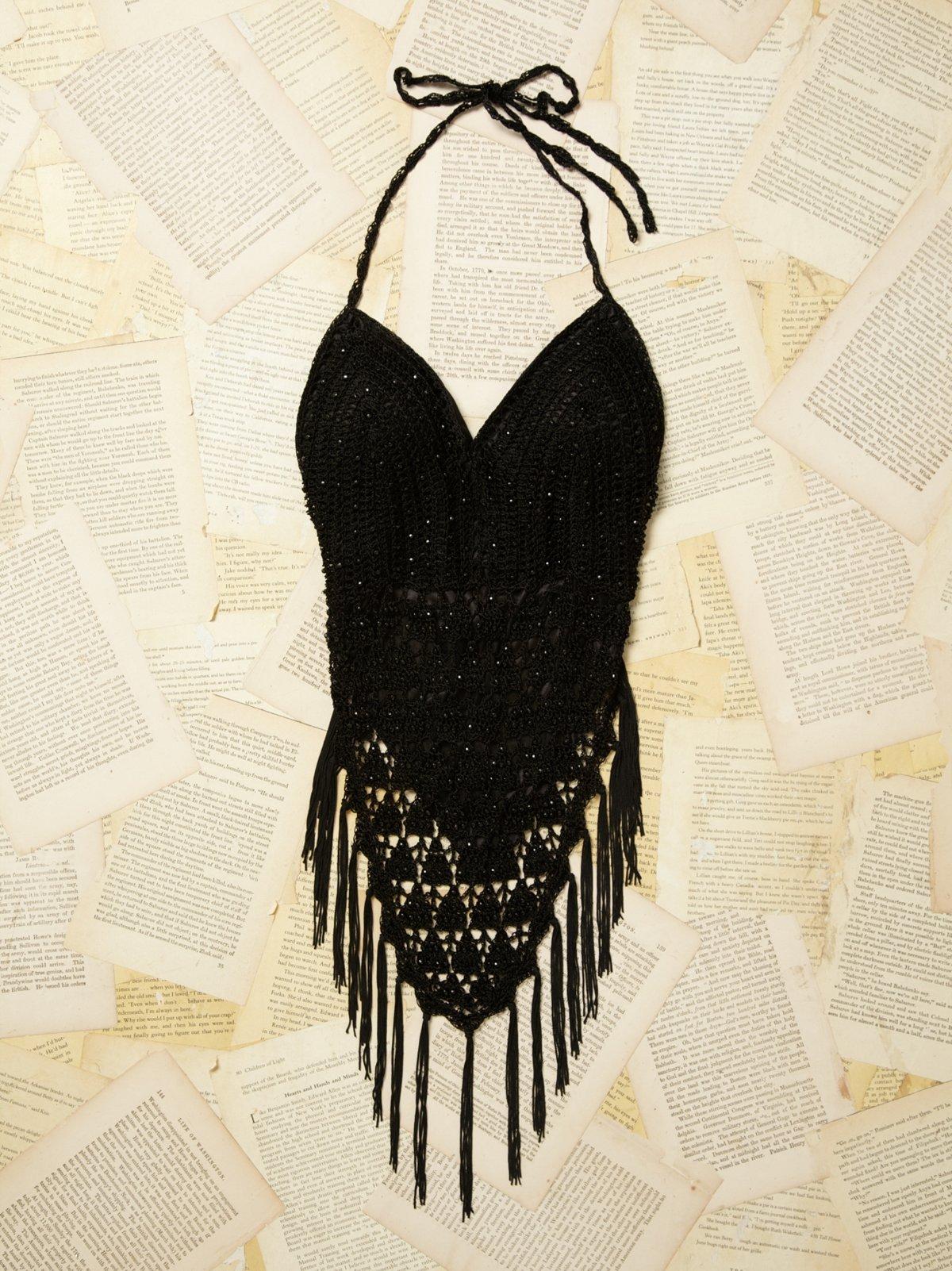 Vintage Crochet Beaded Halter Top