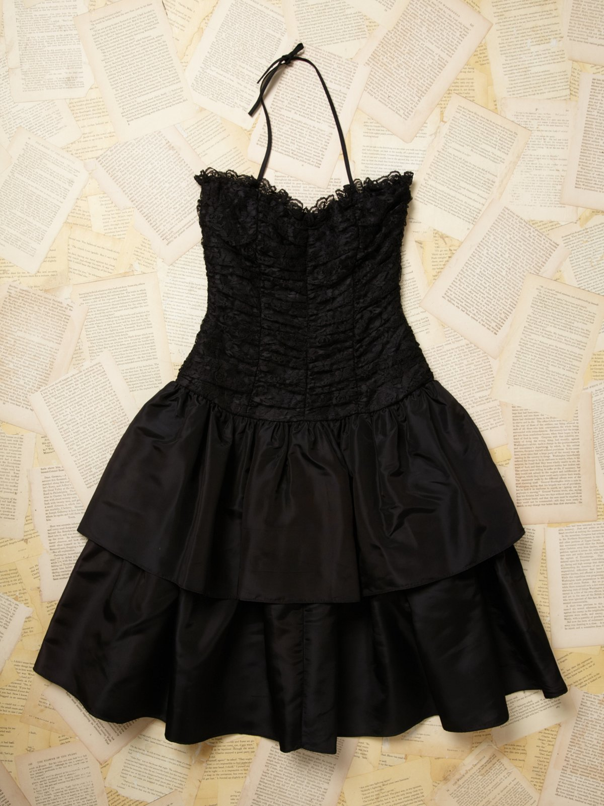 Vintage Lace Strapless Ruffle Dress