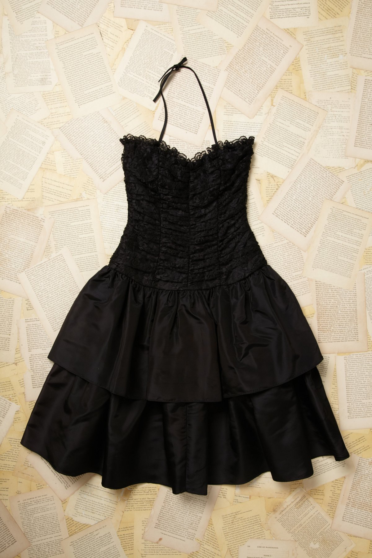 Vintage Lace Strapless Ruffle Dress