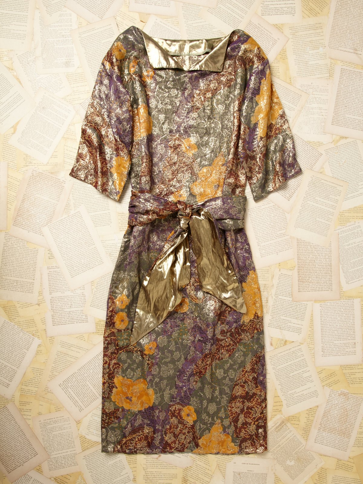 Vintage 1960s Metallic Jacquard Print Dress