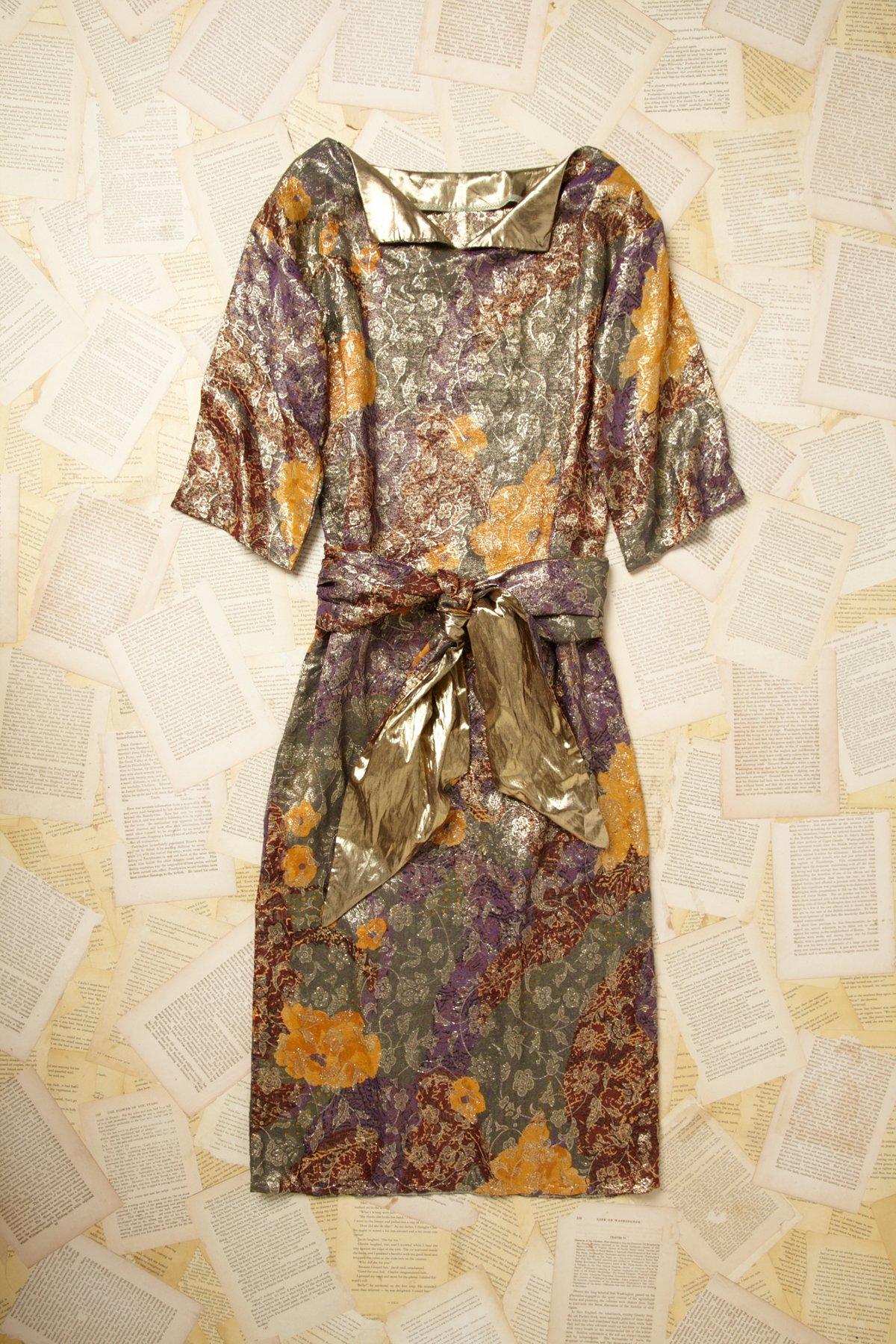 Vintage 1960s Metallic Jacquard Print Dress