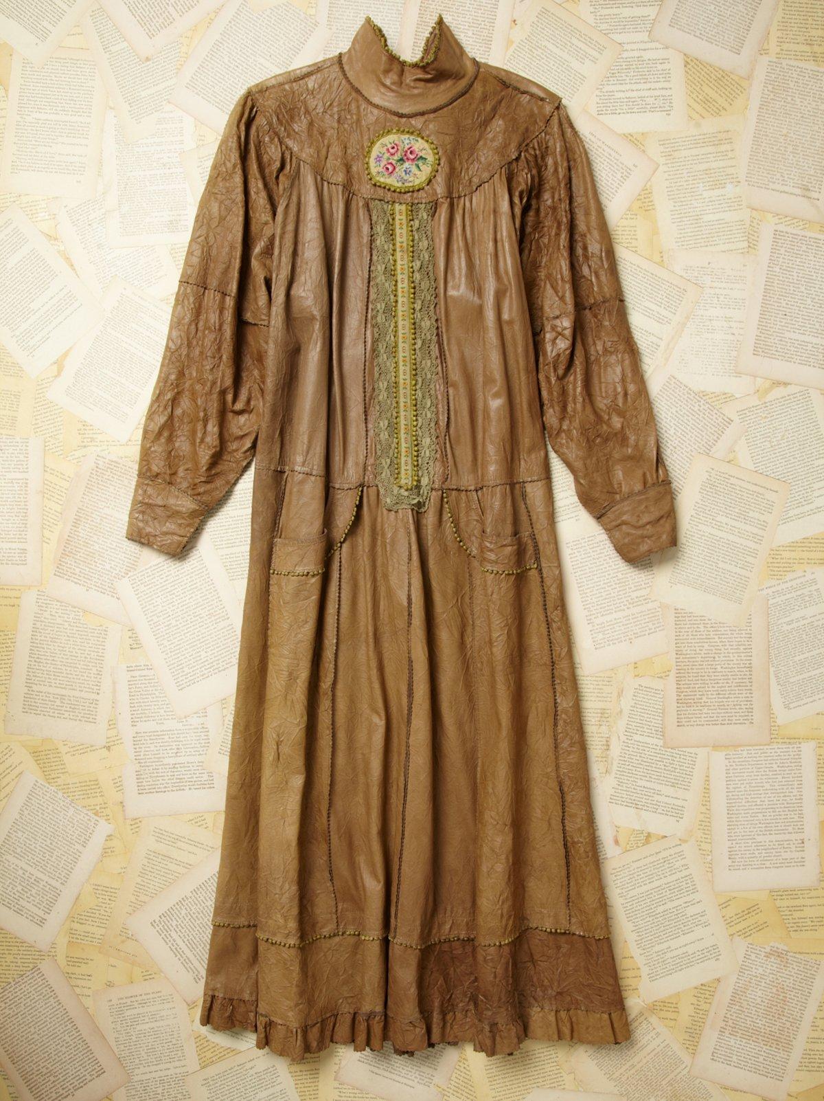 Vintage Embroidered Leather Dress