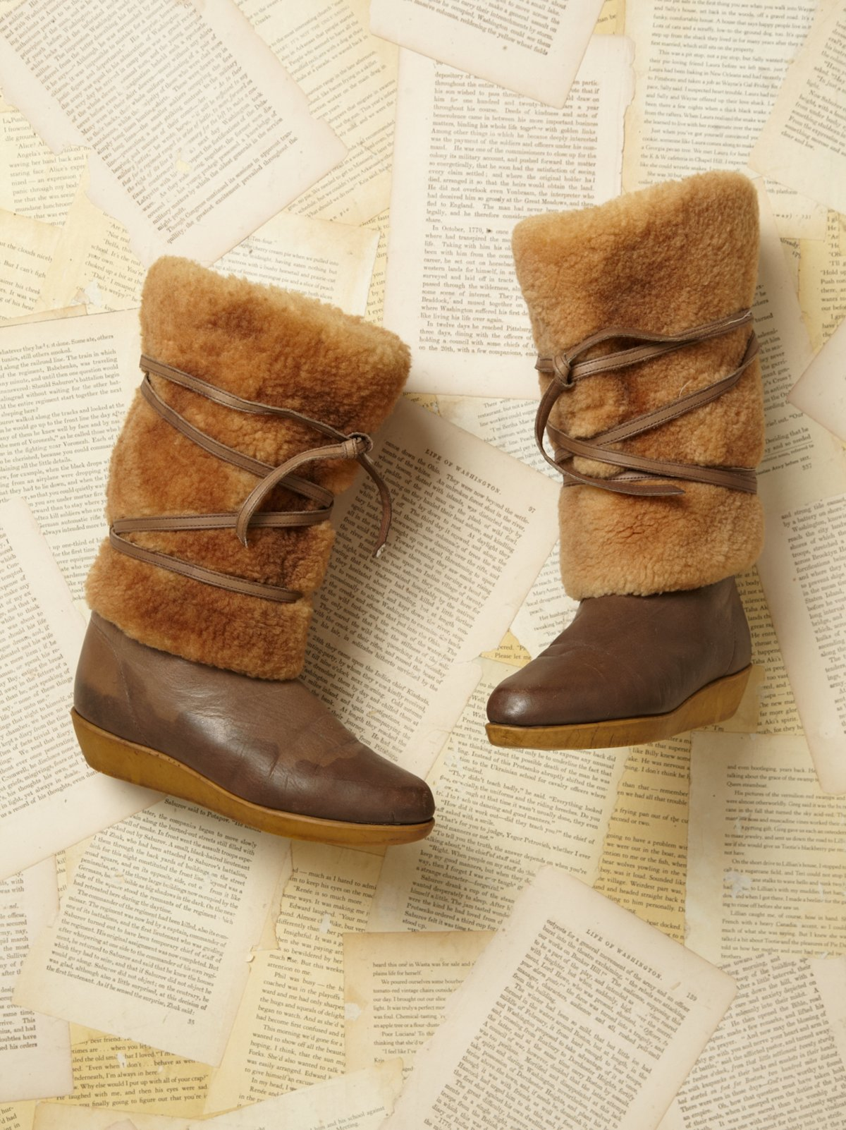 Vintage 1980s Faux Shearling Boots