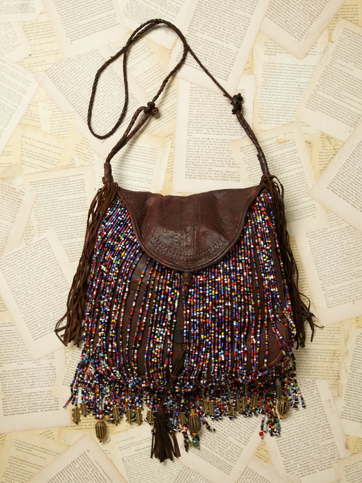 Vintage Beaded Fringe Leather Bag