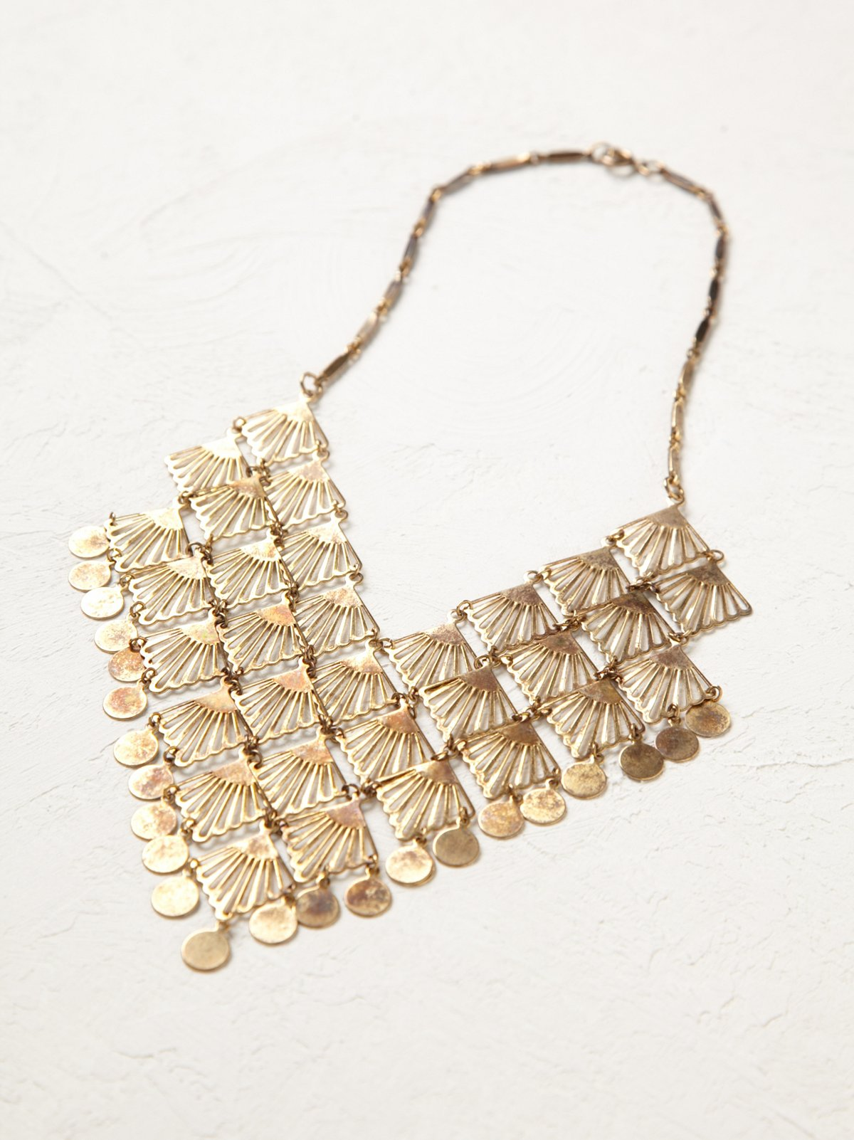 Vintage Brass Fan Necklace
