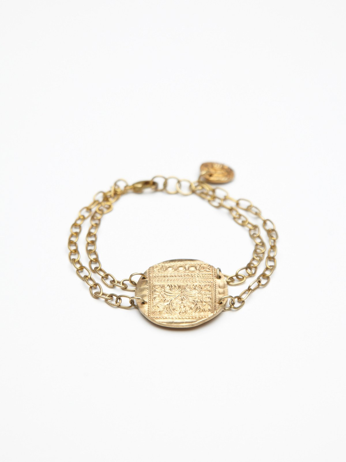Brass Coin and Chain Bracelet