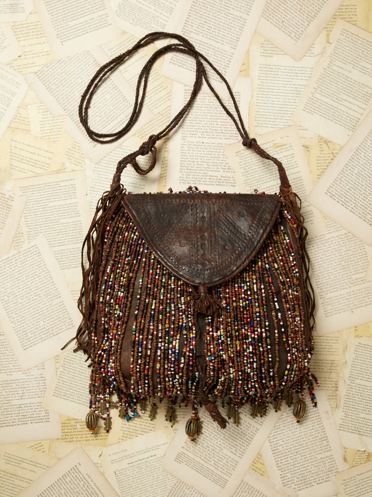 Vintage Nigerian Leather Beaded Bag