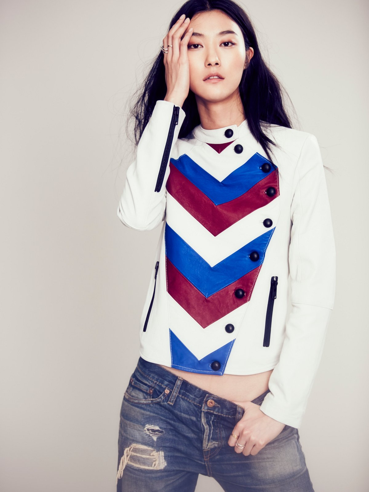 Chevron Stripe Leather Jacket