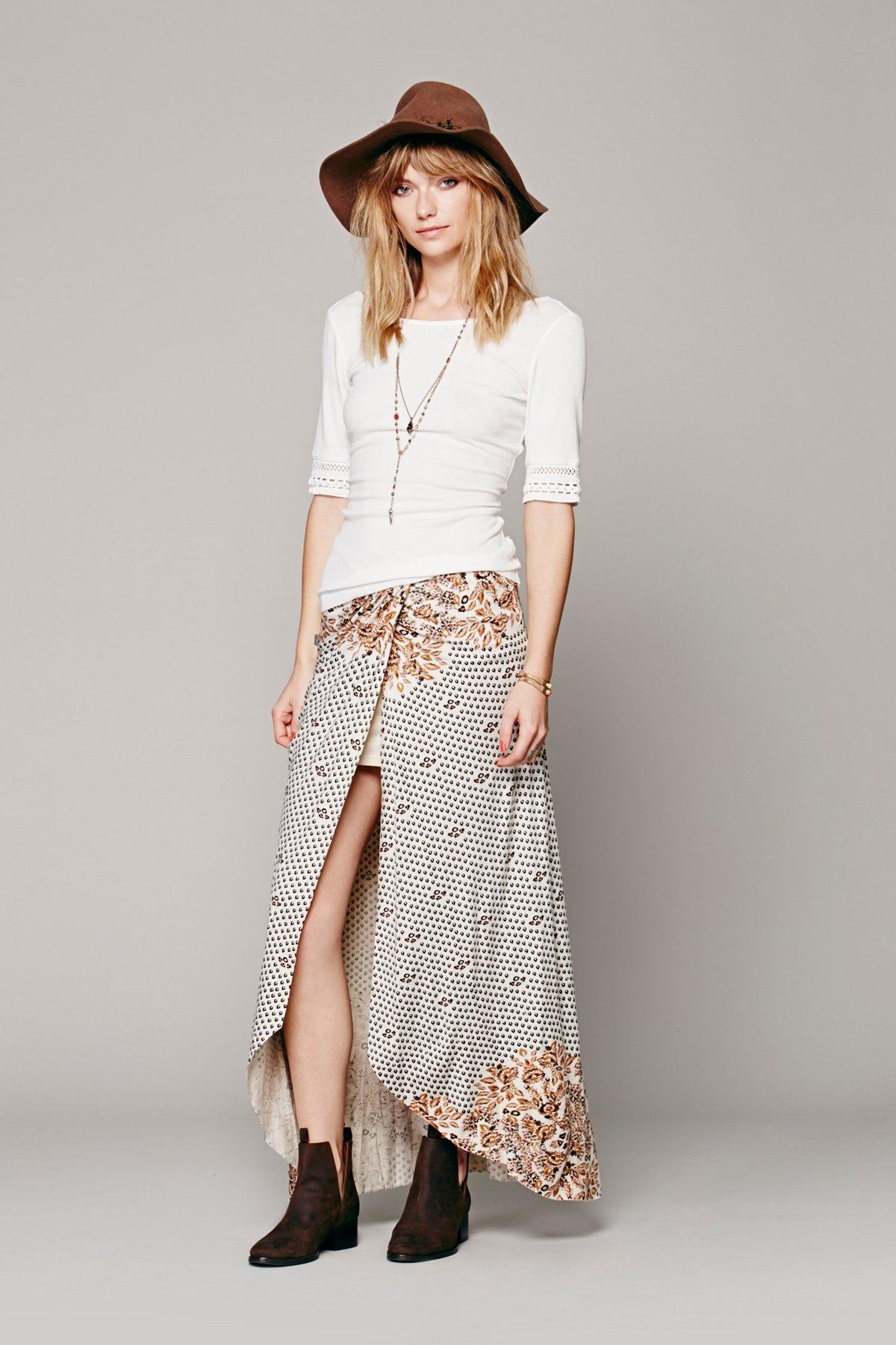 Printed Knit Column Skirt