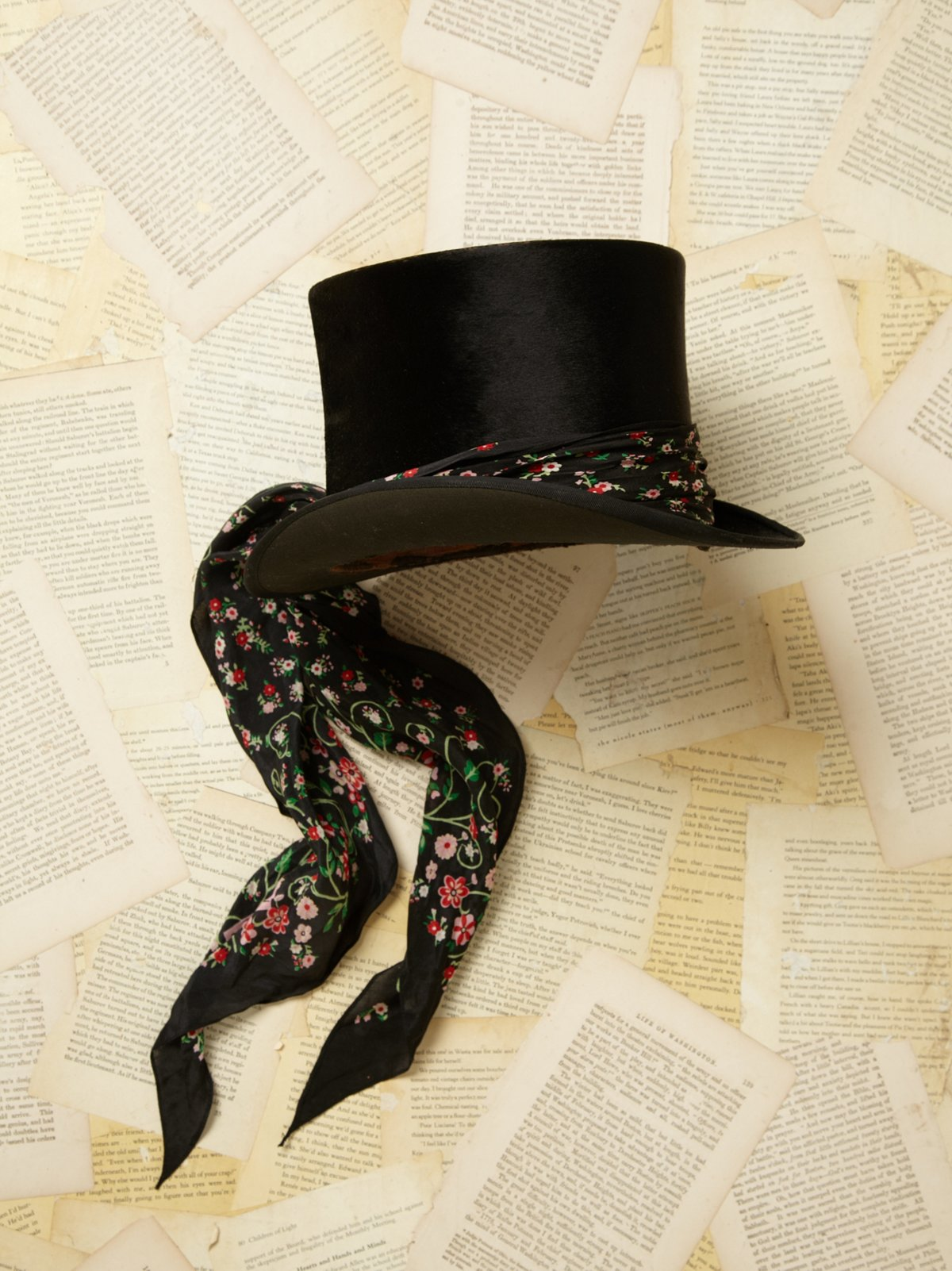 Vintage Top Hat With Scarf