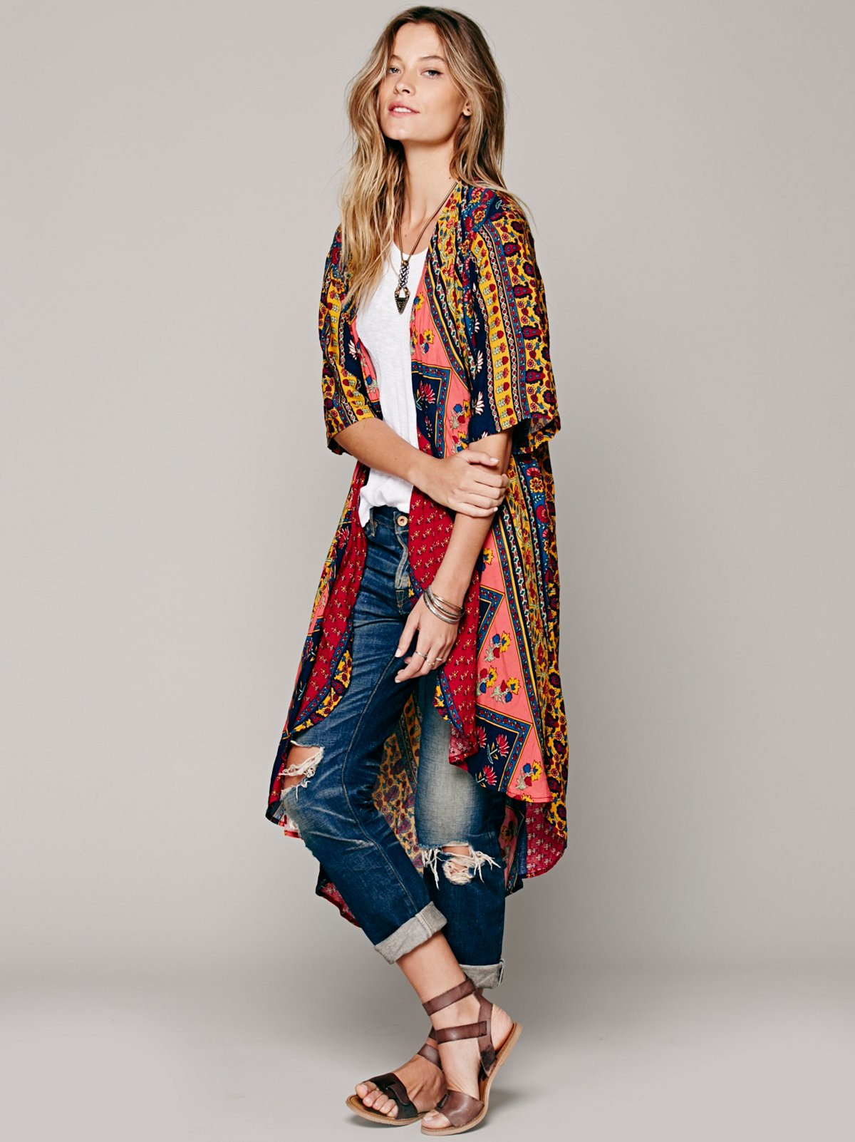 Short Sleeve Printed Maxi Duster