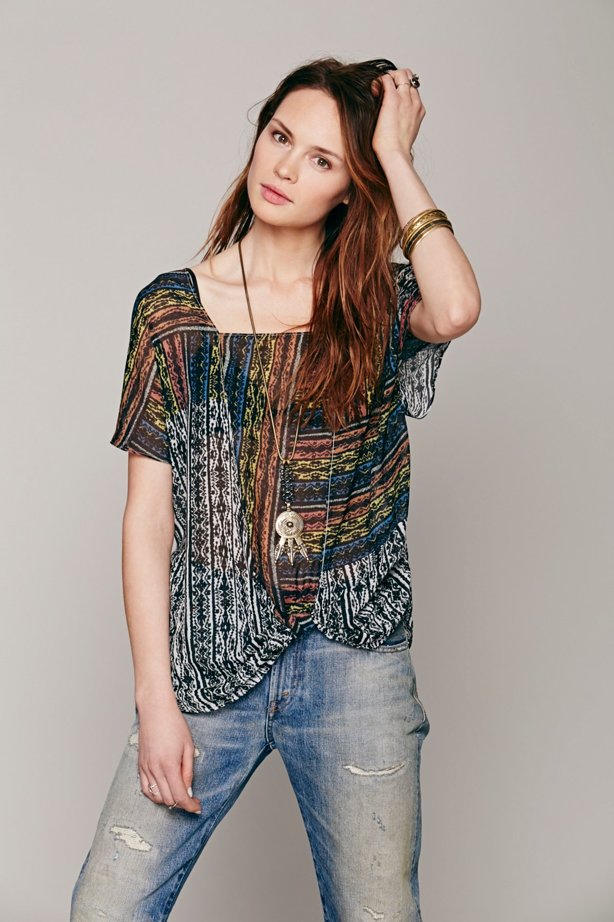 Drippy Square Neck Knot Pullover