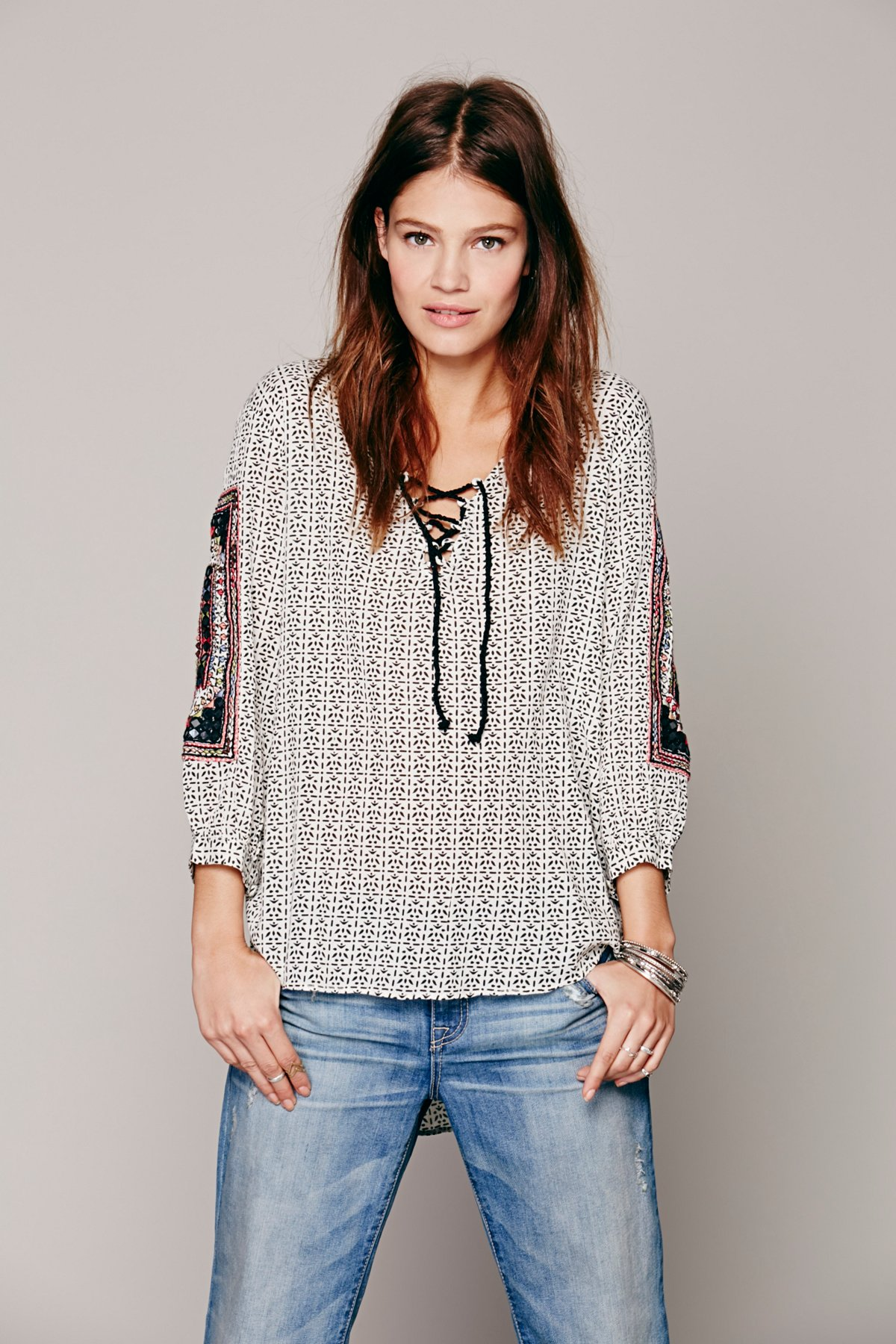 Embroidered Printed Lace Up Tunic
