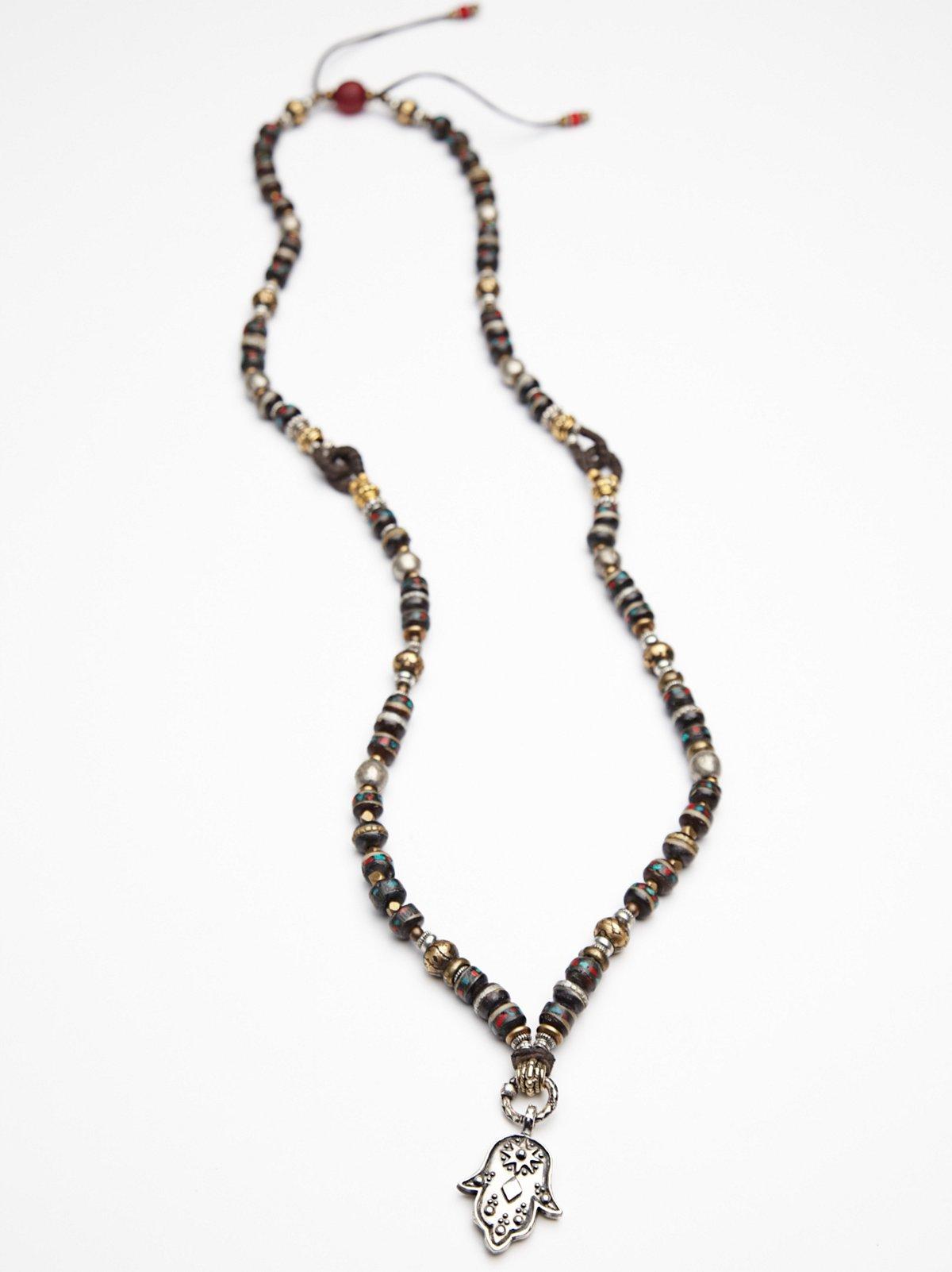 Tibetan Fiesta Hamsa Necklace