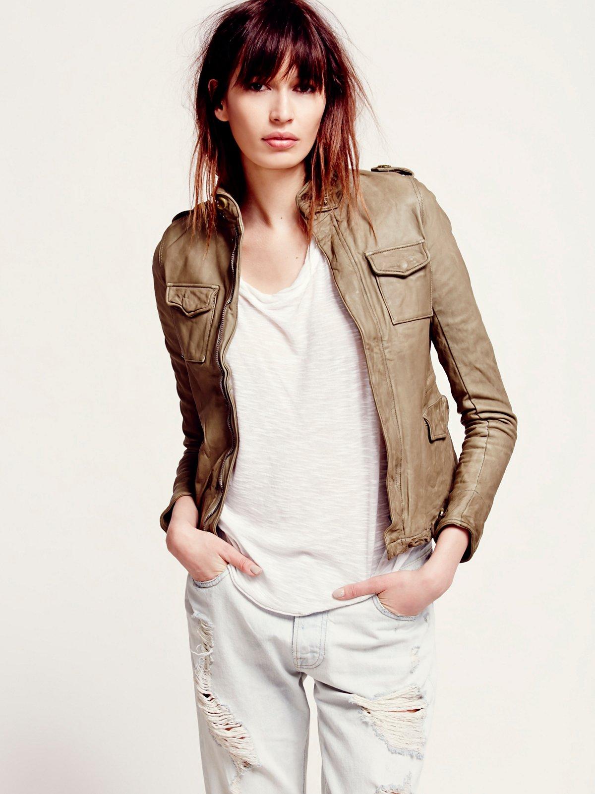 Sisii Short Military Leather Jacket