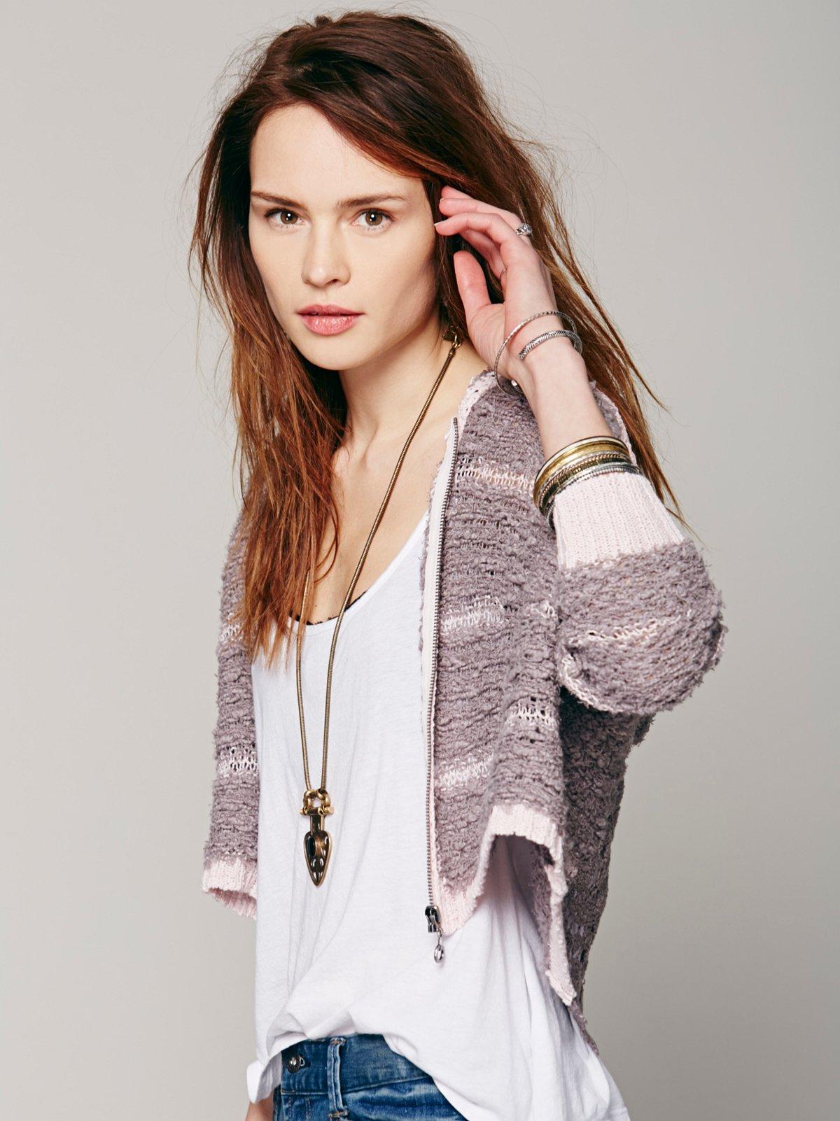 Crochet Back Stripe Cardi
