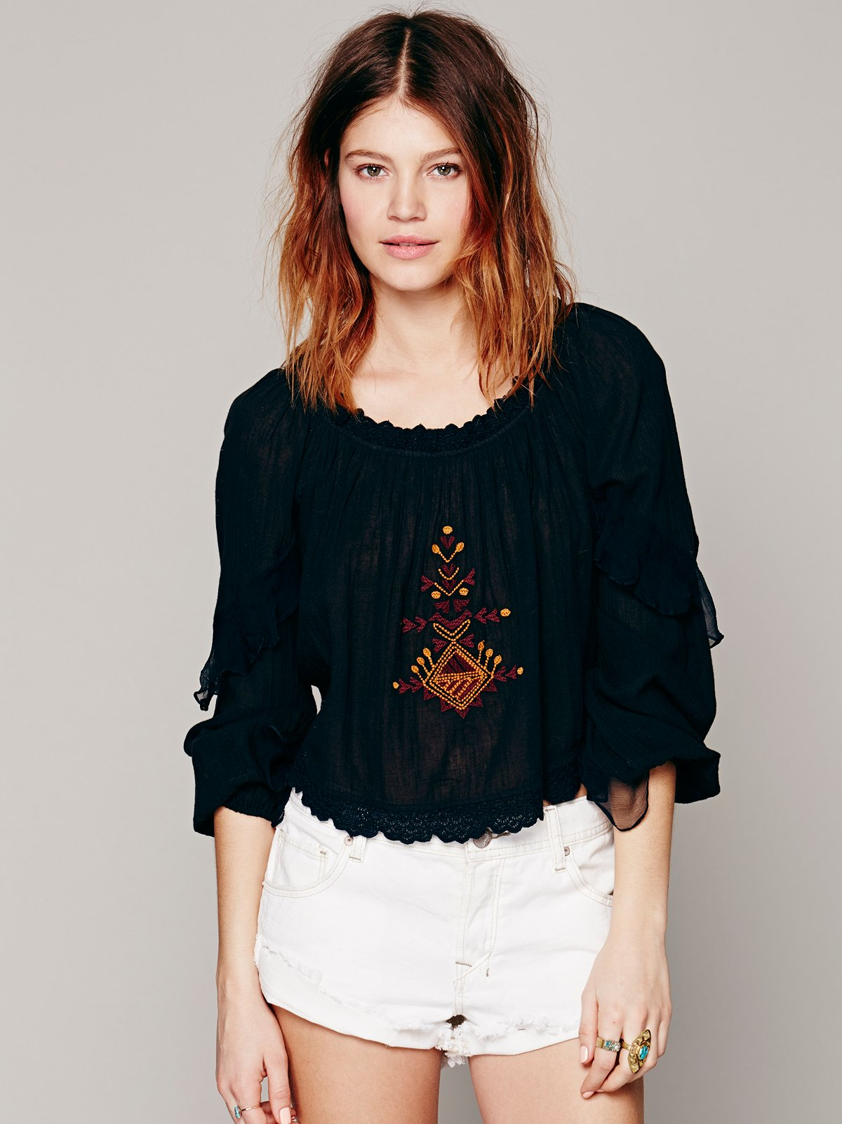 Ruffle Sleeve Embroidered Blouse