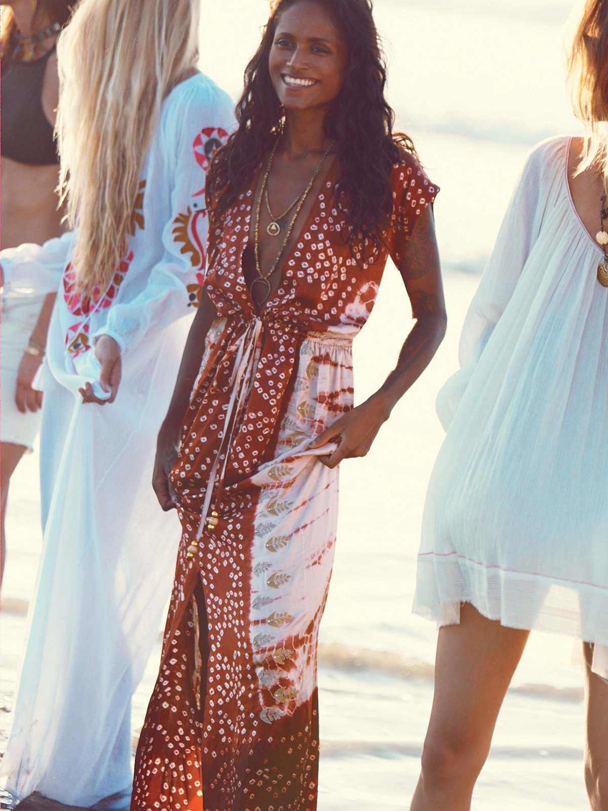 Embroidered Knot Tie Dye Robe