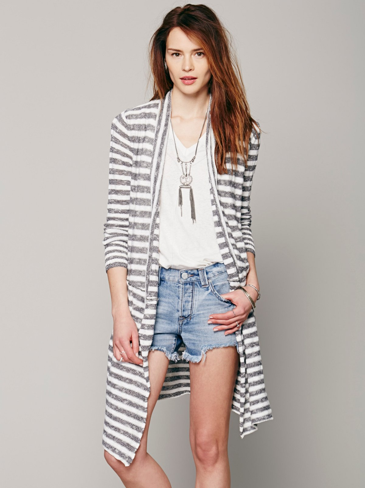 Striped Fine Gauge Cardigan
