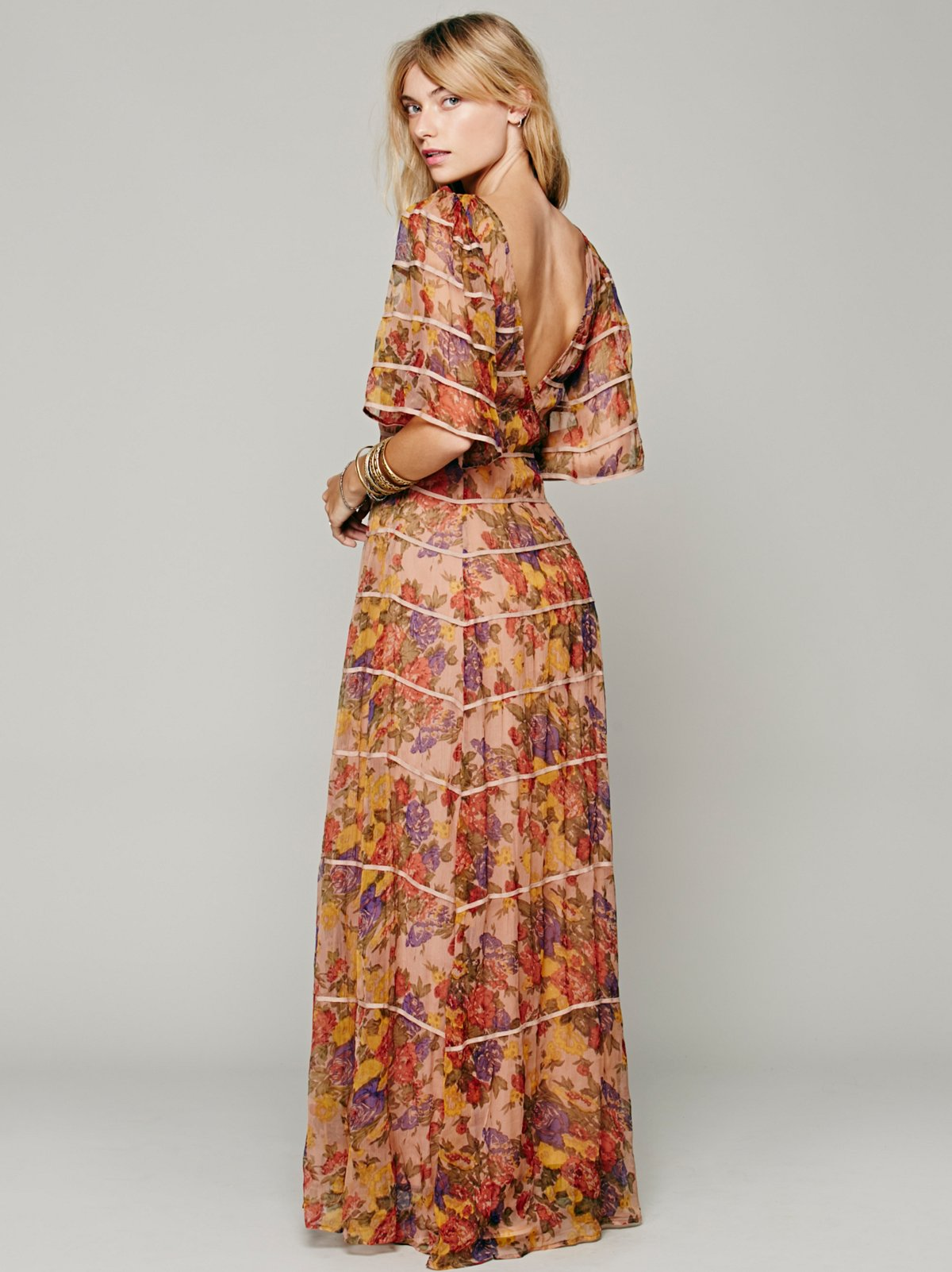 Piped Flutter Sleeve Dress