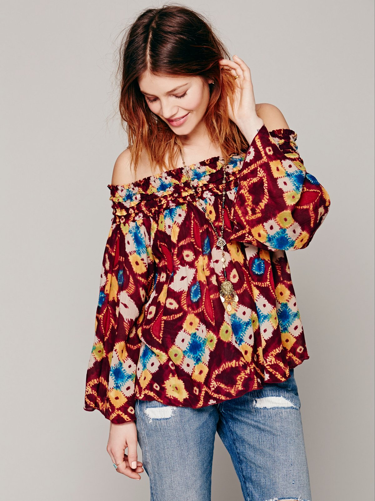 FP ONE Printed Off the Shoulder Top