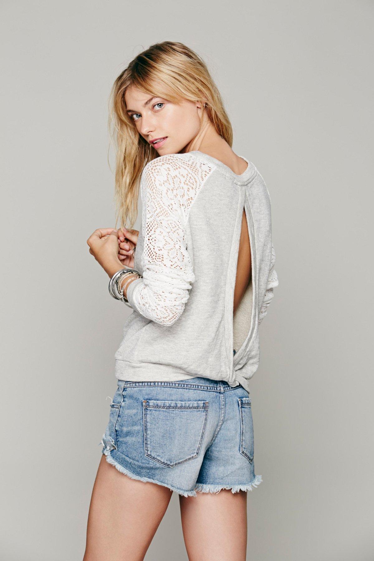 Benedict Lace Crop Sweatshirt
