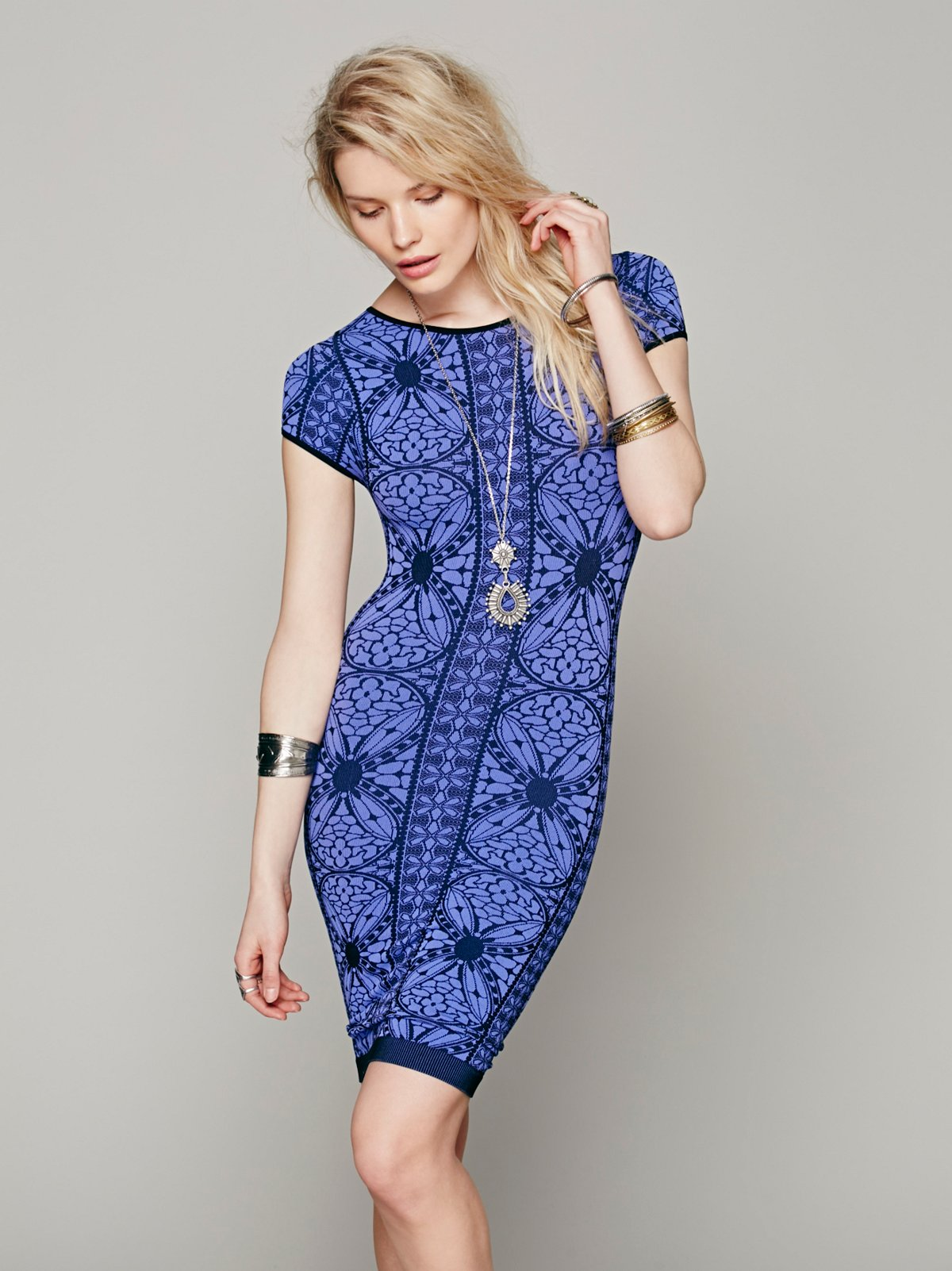 Printed Cap Sleeve Bodycon