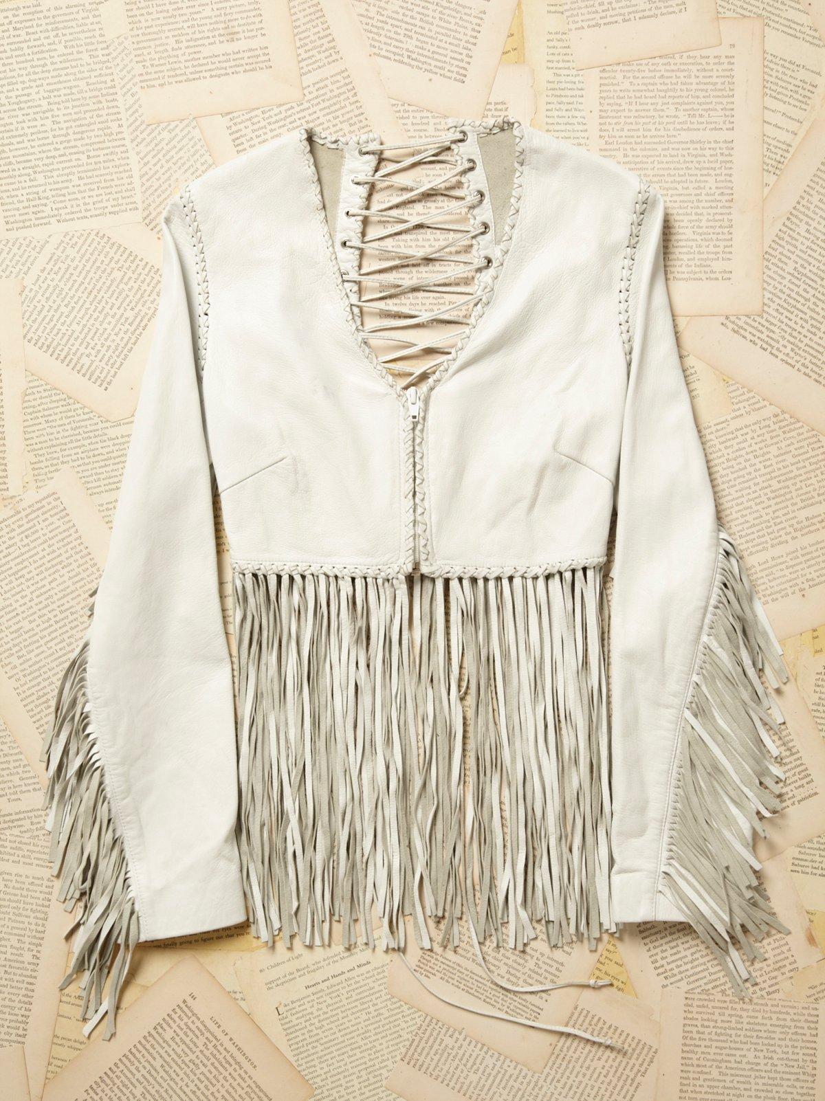 Vintage 1970s White Leather Lace Up Jacket