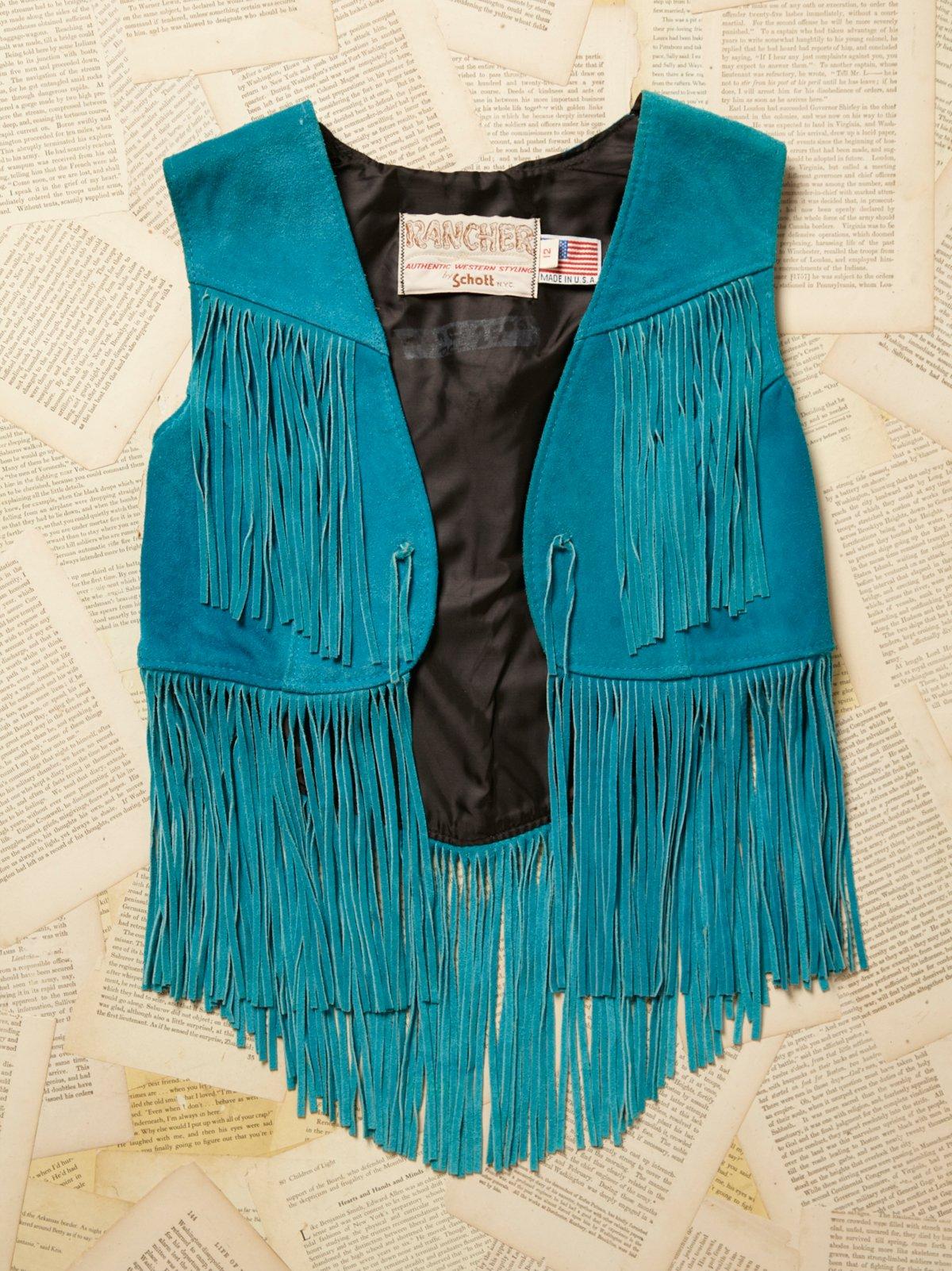 Vintage 1970s Turquoise Suede Vest