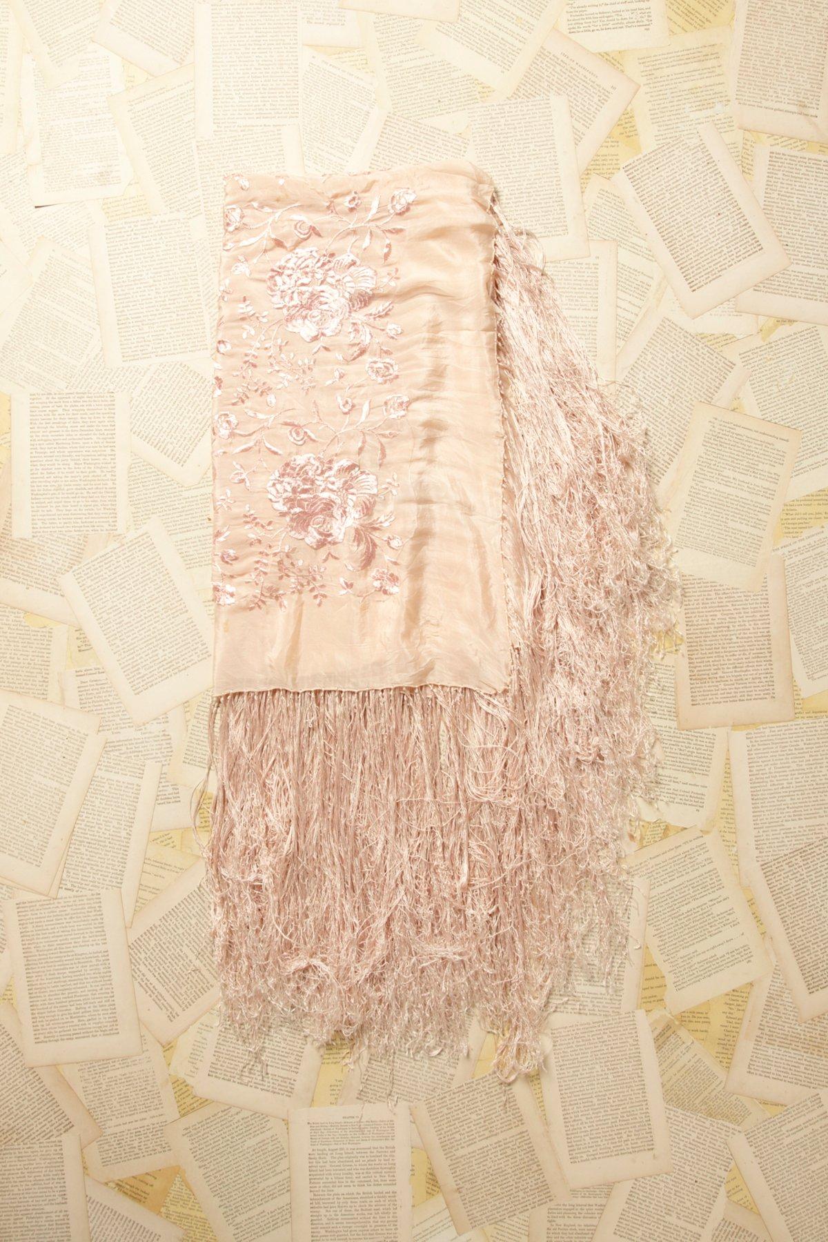 Vintage Pink Fringe Shawl