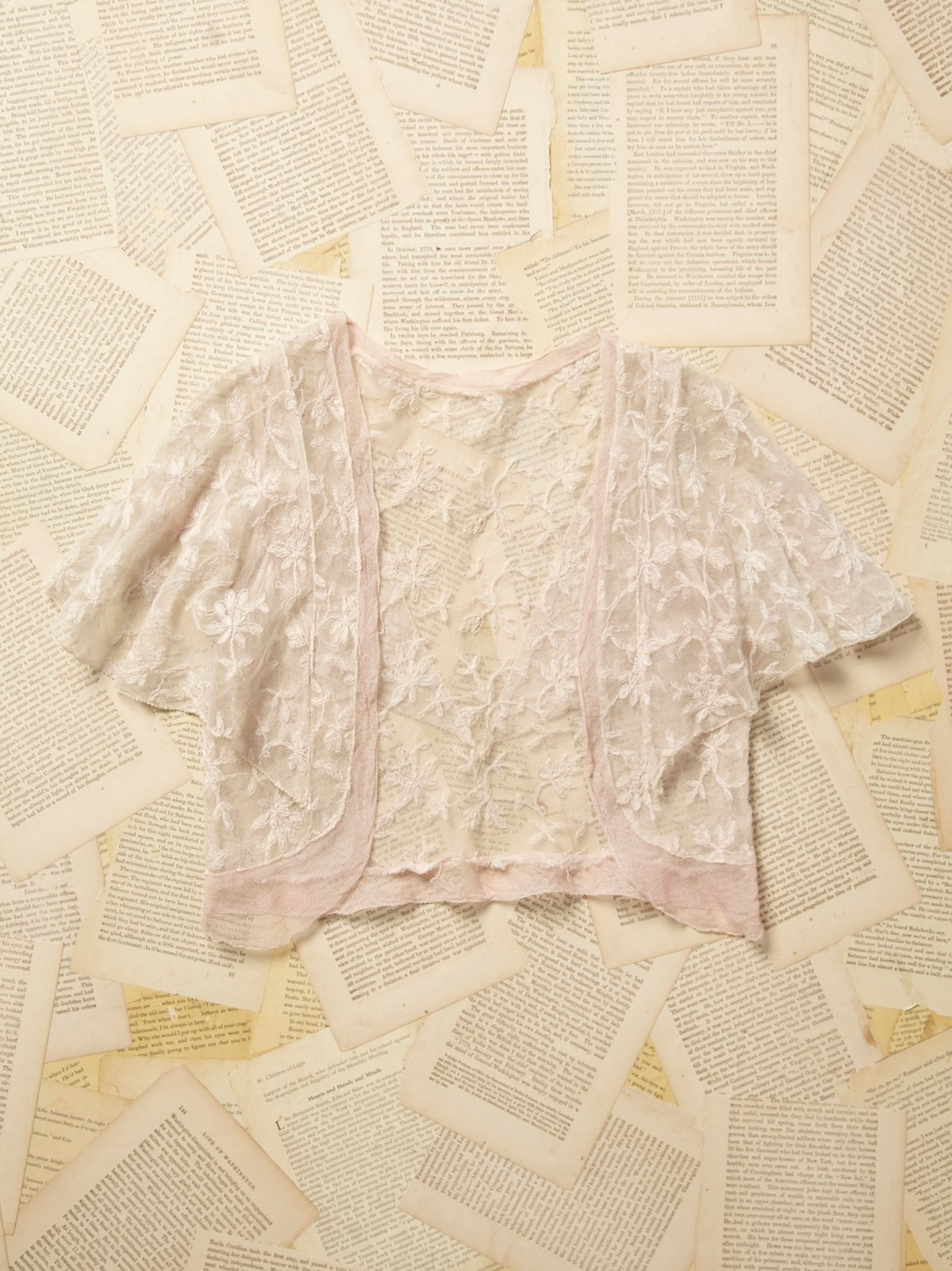 Vintage 1950s Pink Lace Cropped Dancer Shrug