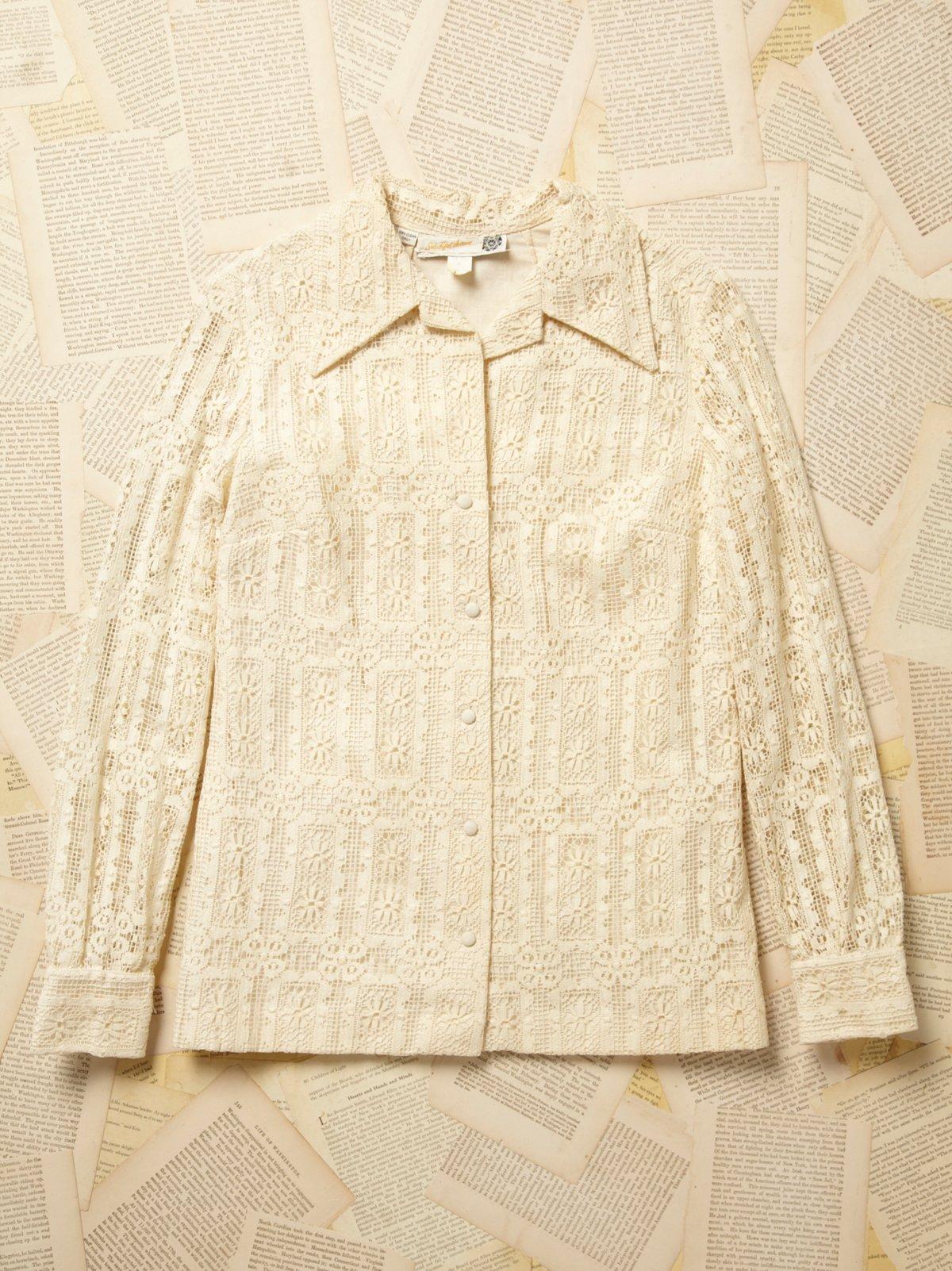 Vintage 1970s Lace and Cotton Blouse