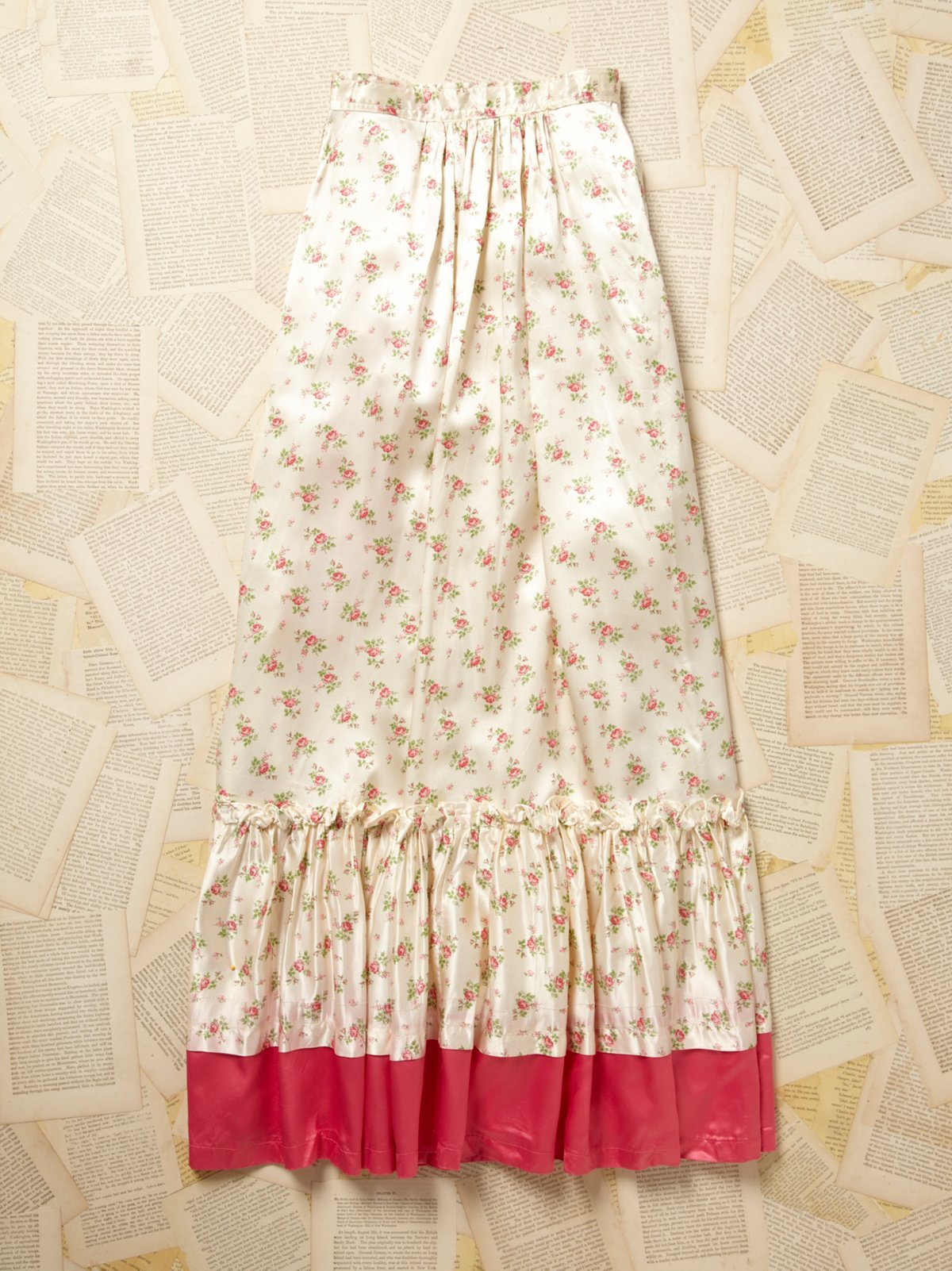 Vintage 1970s Long Rose Print Skirt