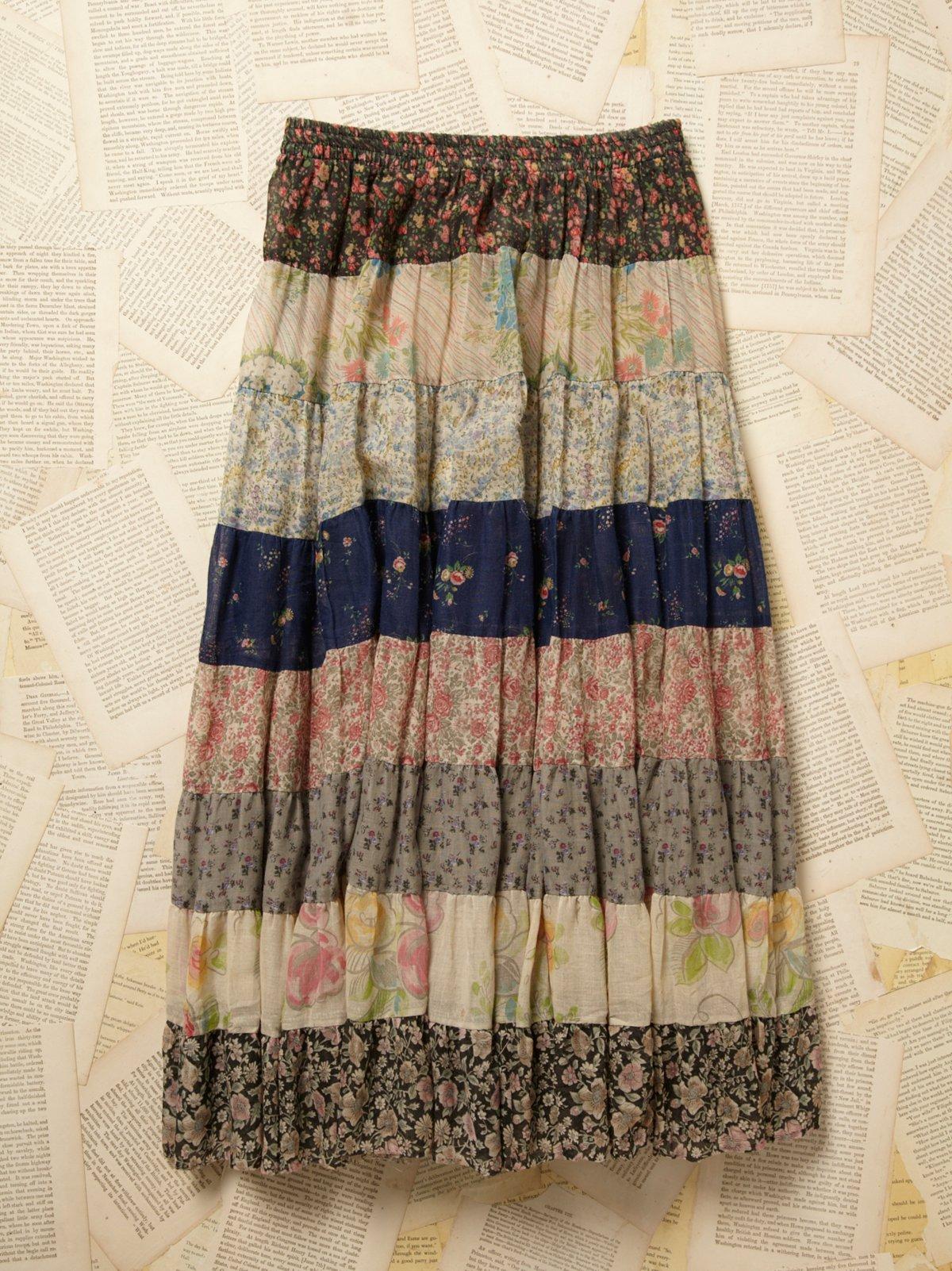 Vintage 1970s Gauze Print Skirt